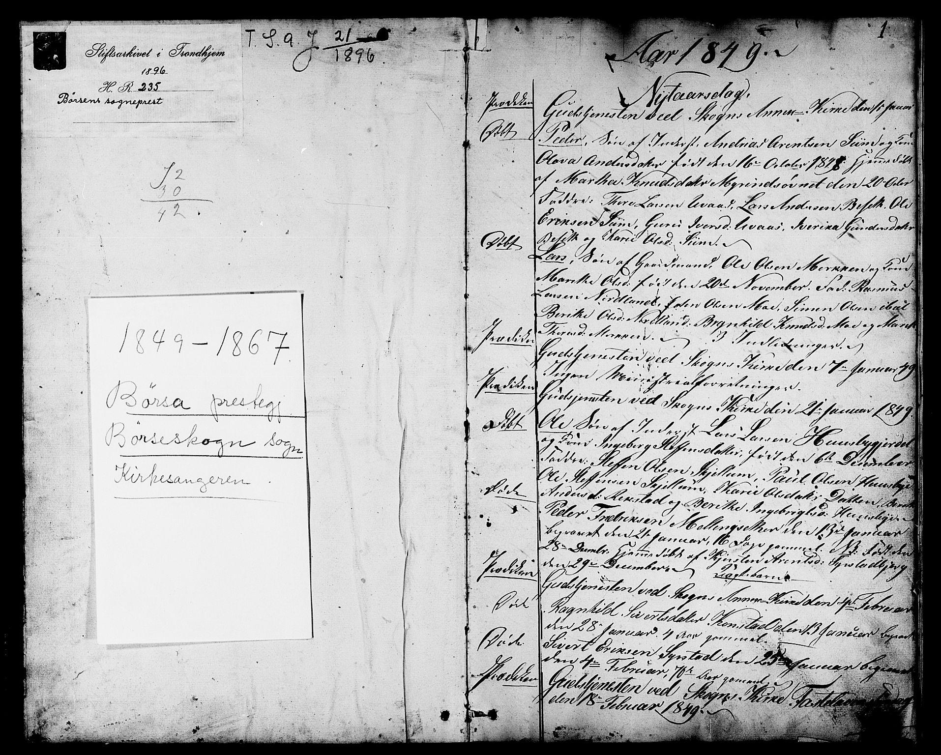 SAT, Ministerialprotokoller, klokkerbøker og fødselsregistre - Sør-Trøndelag, 667/L0797: Klokkerbok nr. 667C02, 1849-1867, s. 1