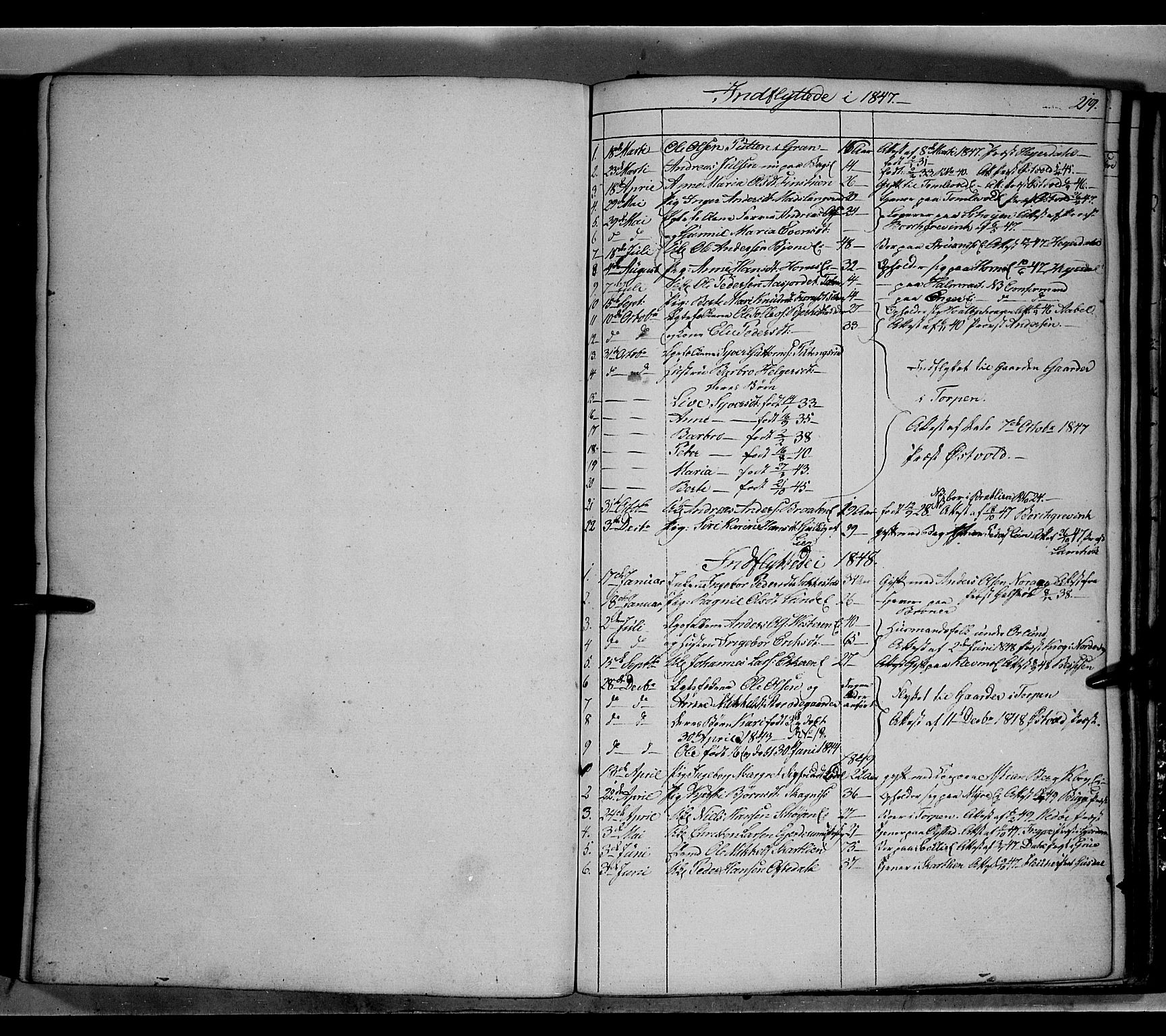 SAH, Land prestekontor, Klokkerbok nr. 2, 1833-1849, s. 219