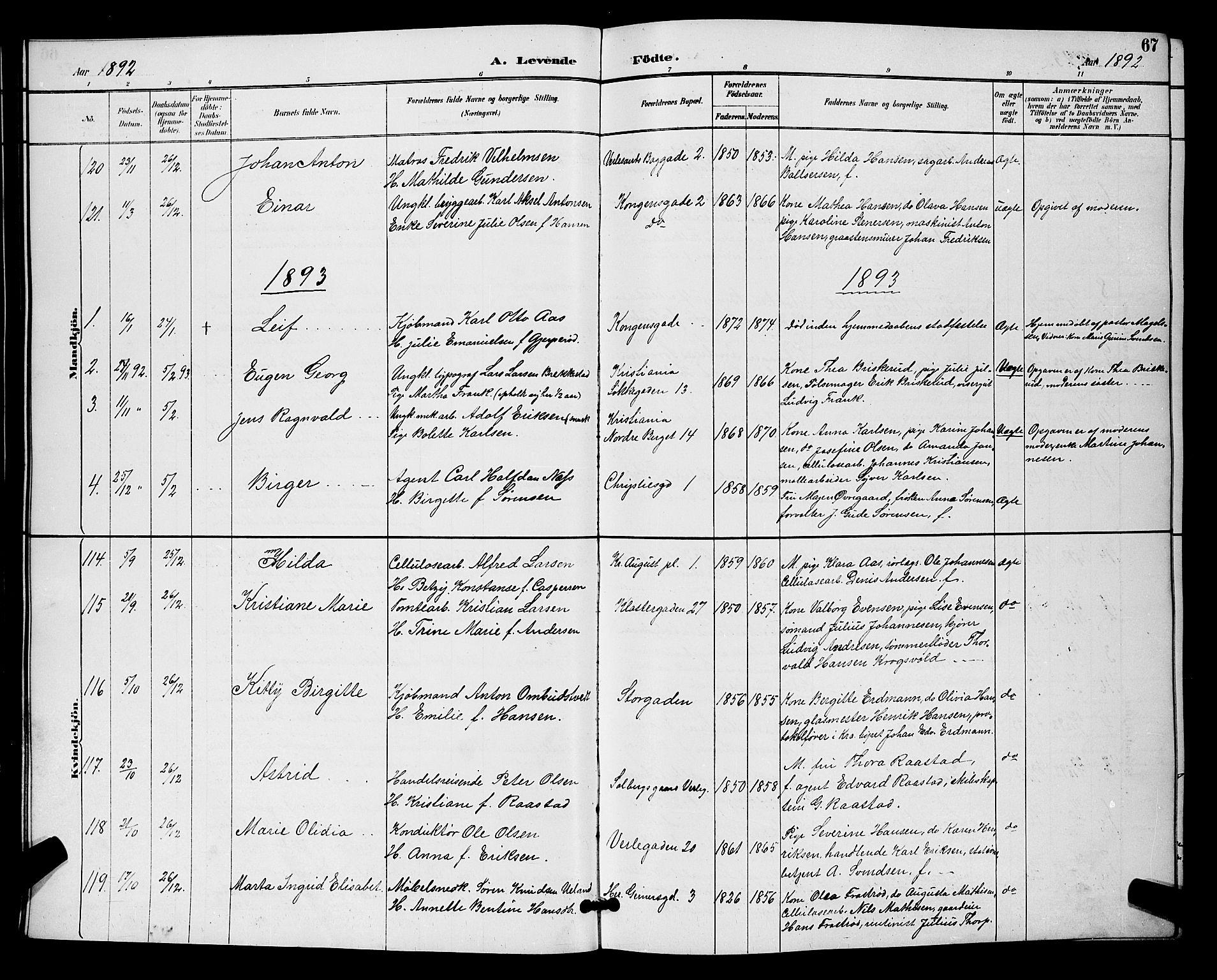 SAO, Moss prestekontor Kirkebøker, G/Ga/L0006: Klokkerbok nr. I 6, 1889-1900, s. 67