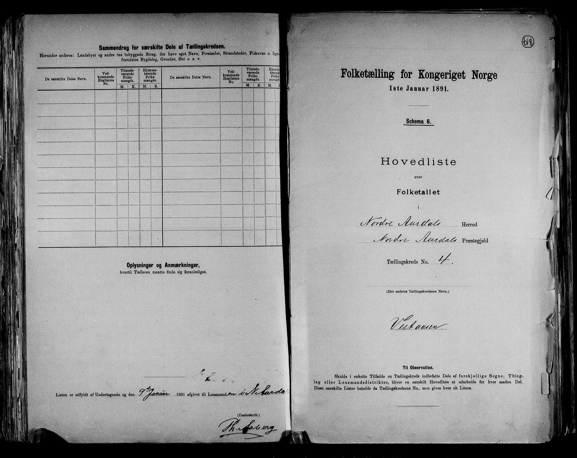 RA, Folketelling 1891 for 0542 Nord-Aurdal herred, 1891, s. 12