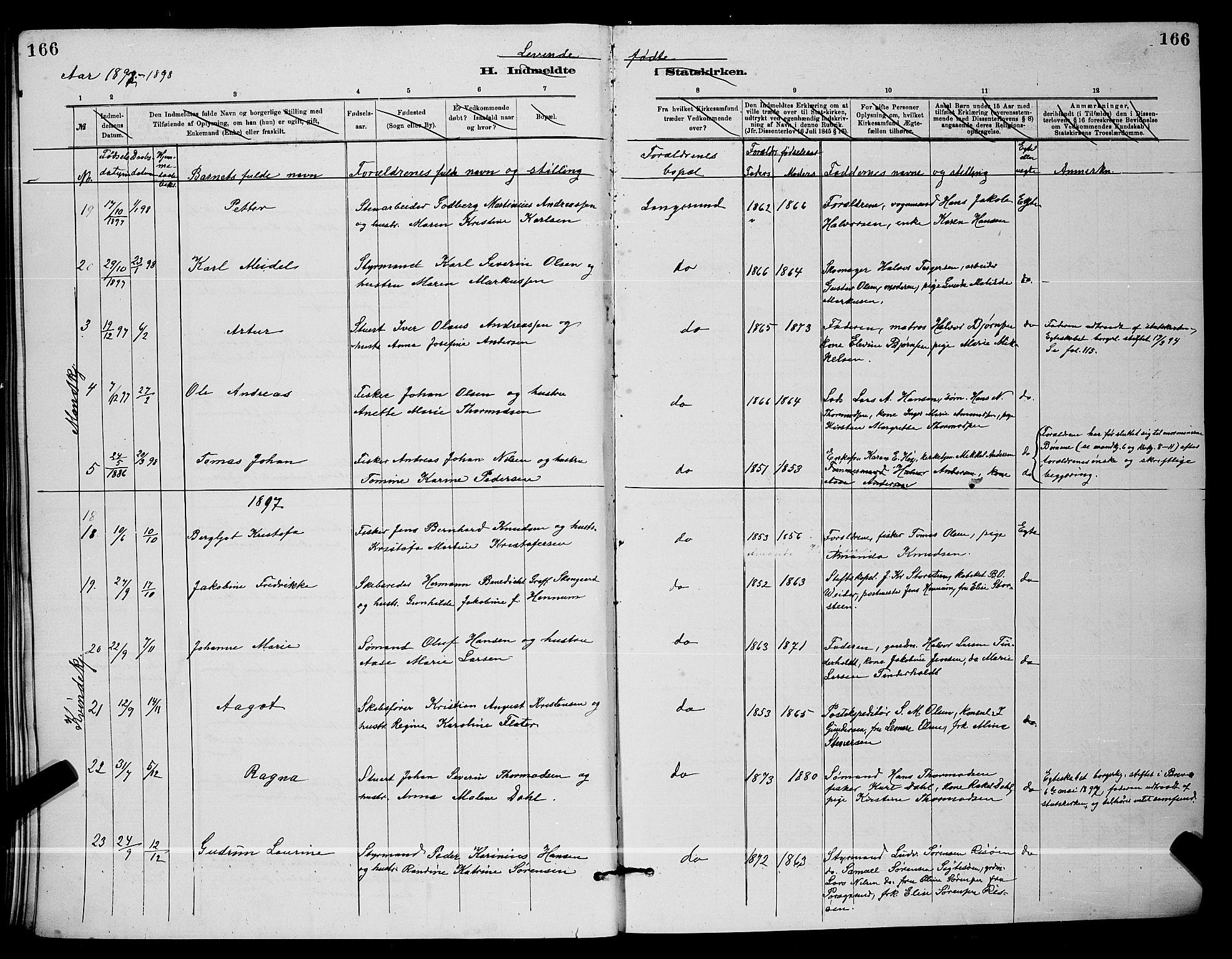 SAKO, Langesund kirkebøker, G/Ga/L0005: Klokkerbok nr. 5, 1884-1898, s. 166