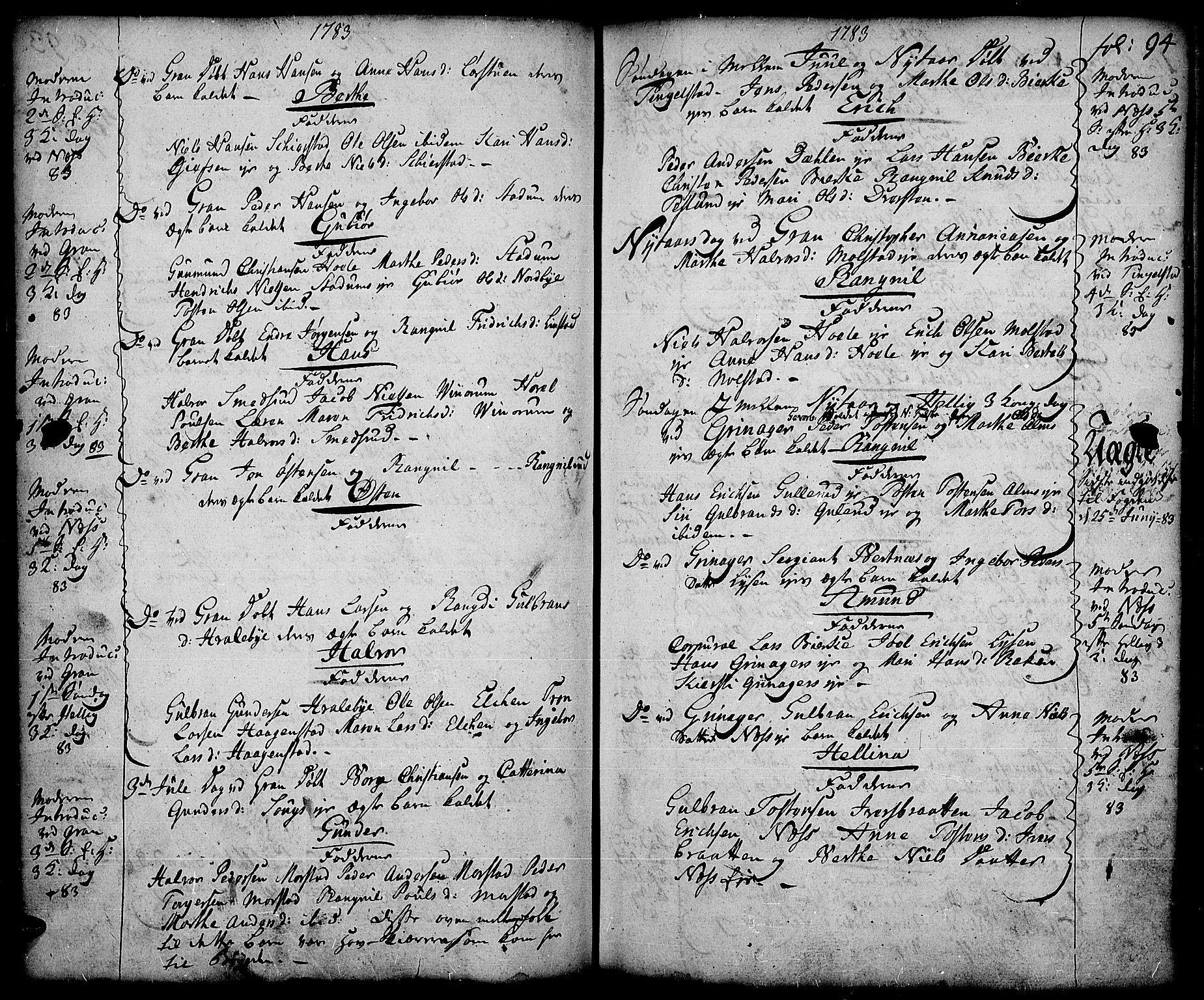 SAH, Gran prestekontor, Ministerialbok nr. 5, 1776-1788, s. 94