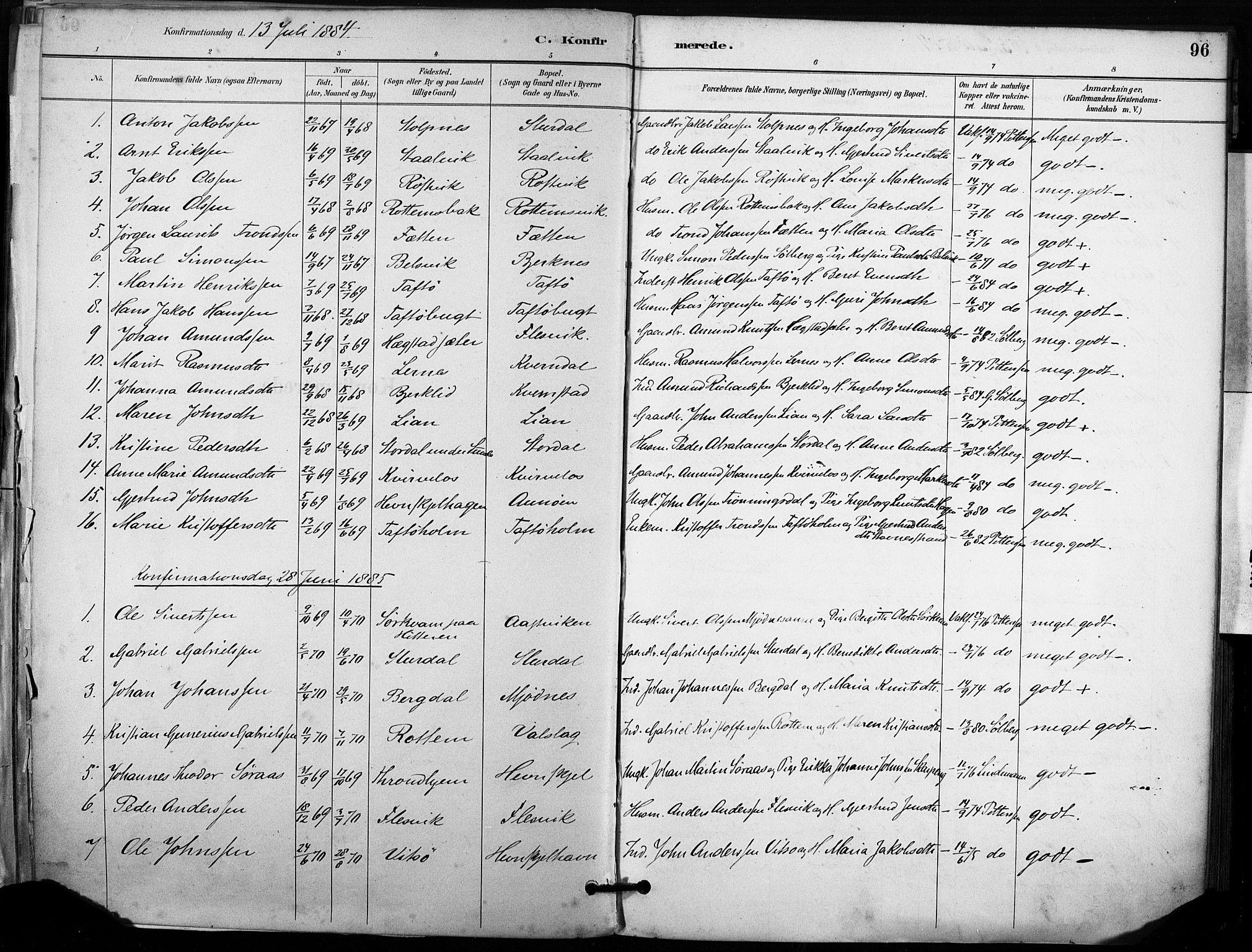 SAT, Ministerialprotokoller, klokkerbøker og fødselsregistre - Sør-Trøndelag, 633/L0518: Ministerialbok nr. 633A01, 1884-1906, s. 96
