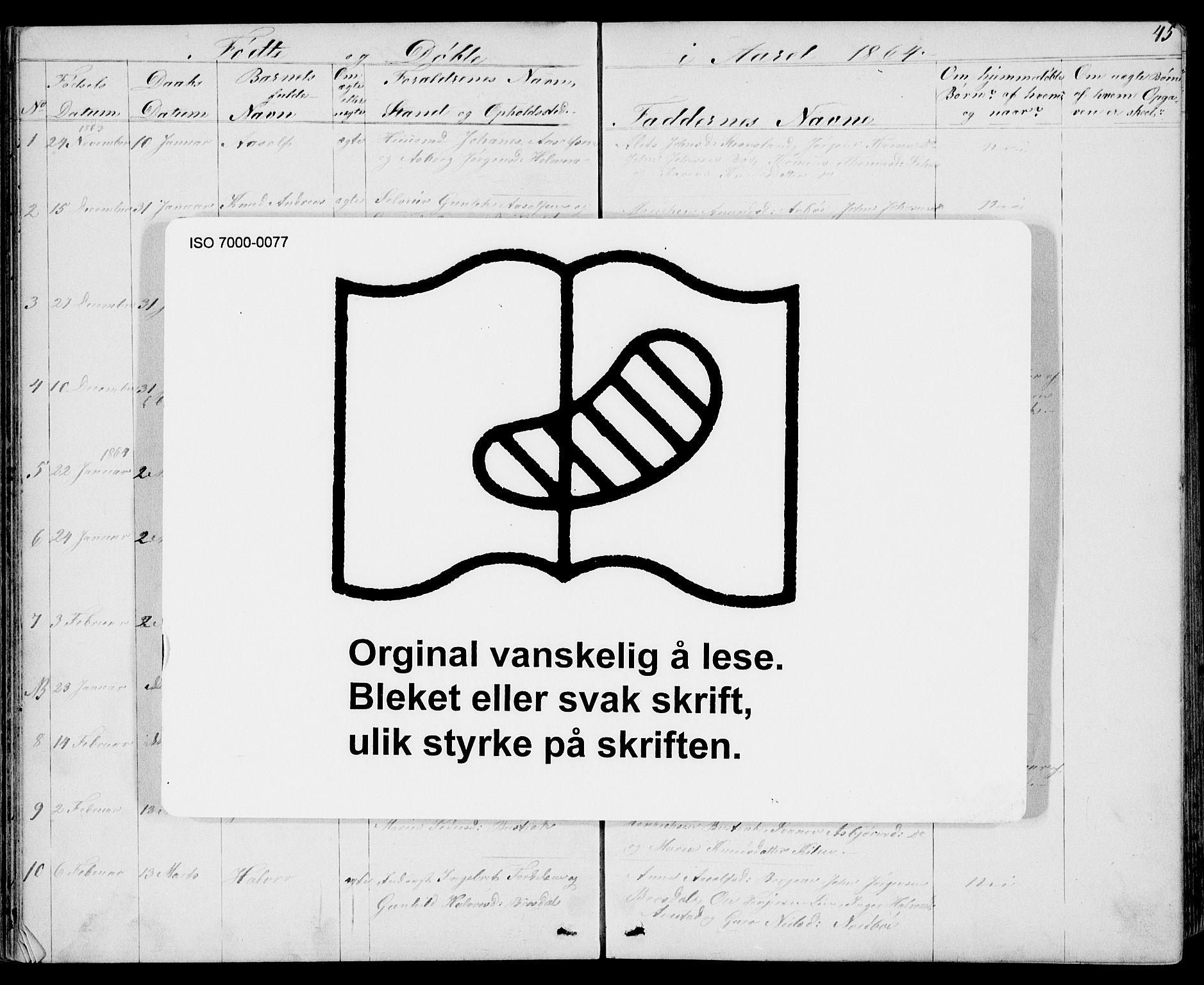 SAKO, Drangedal kirkebøker, G/Gb/L0001: Klokkerbok nr. II 1, 1856-1894, s. 45