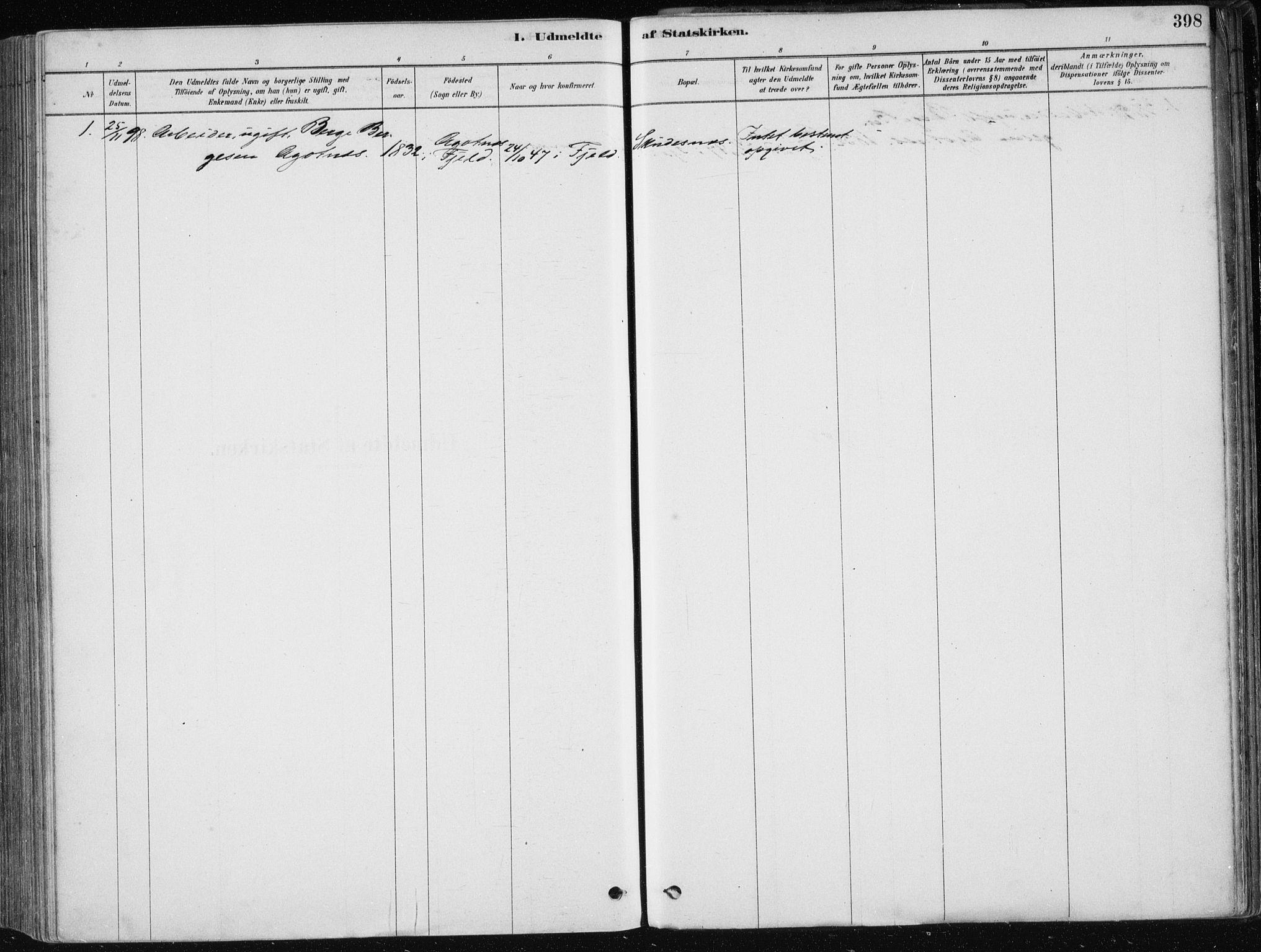 SAB, Fjell sokneprestembete, H/Haa: Ministerialbok nr. A  8, 1878-1898, s. 398