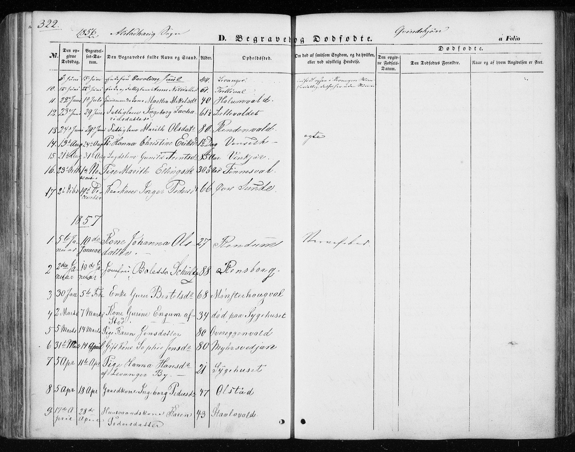 SAT, Ministerialprotokoller, klokkerbøker og fødselsregistre - Nord-Trøndelag, 717/L0154: Ministerialbok nr. 717A07 /1, 1850-1862, s. 322