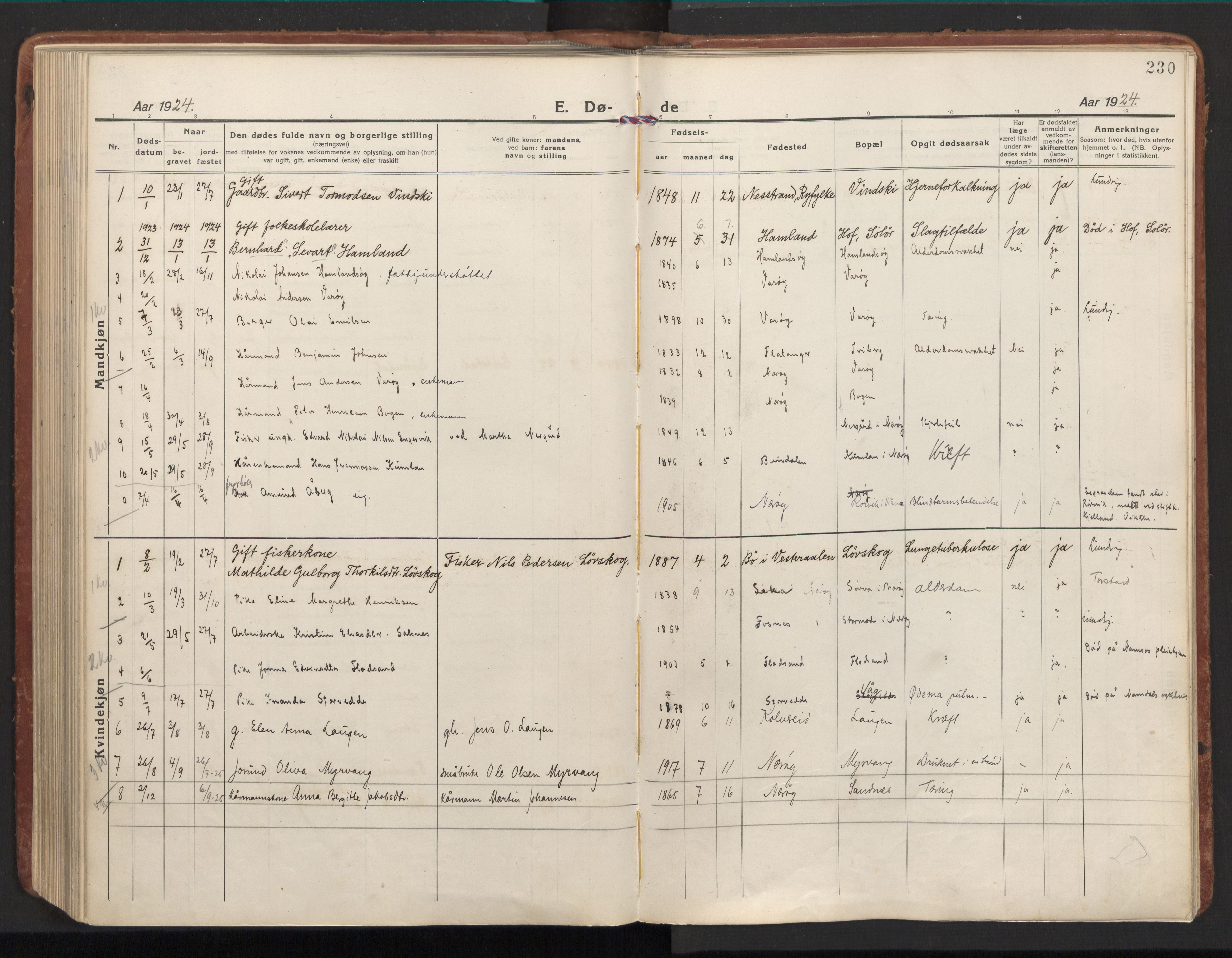 SAT, Ministerialprotokoller, klokkerbøker og fødselsregistre - Nord-Trøndelag, 784/L0678: Ministerialbok nr. 784A13, 1921-1938, s. 230