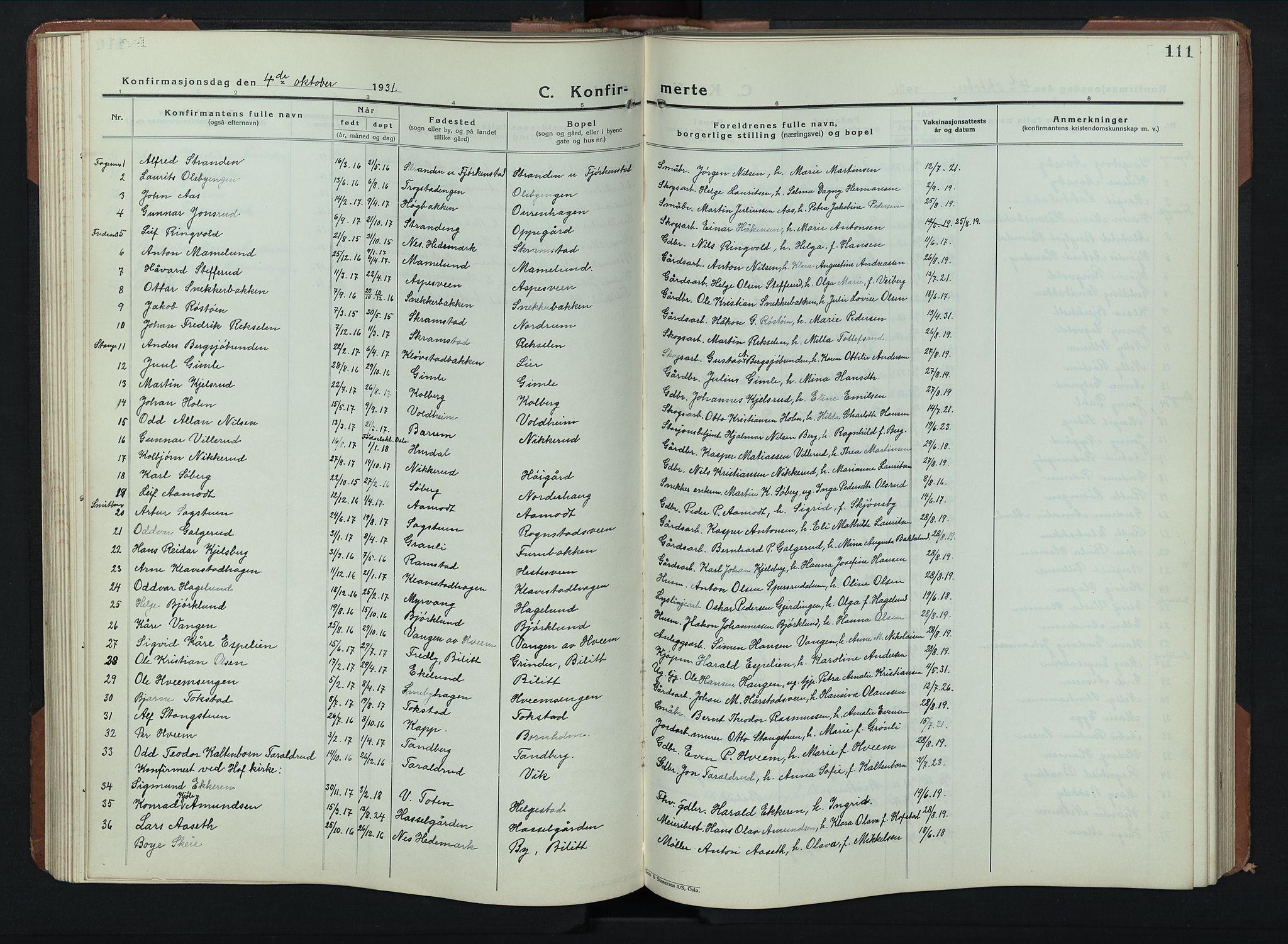 SAH, Balke prestekontor, Klokkerbok nr. 2, 1929-1951, s. 111