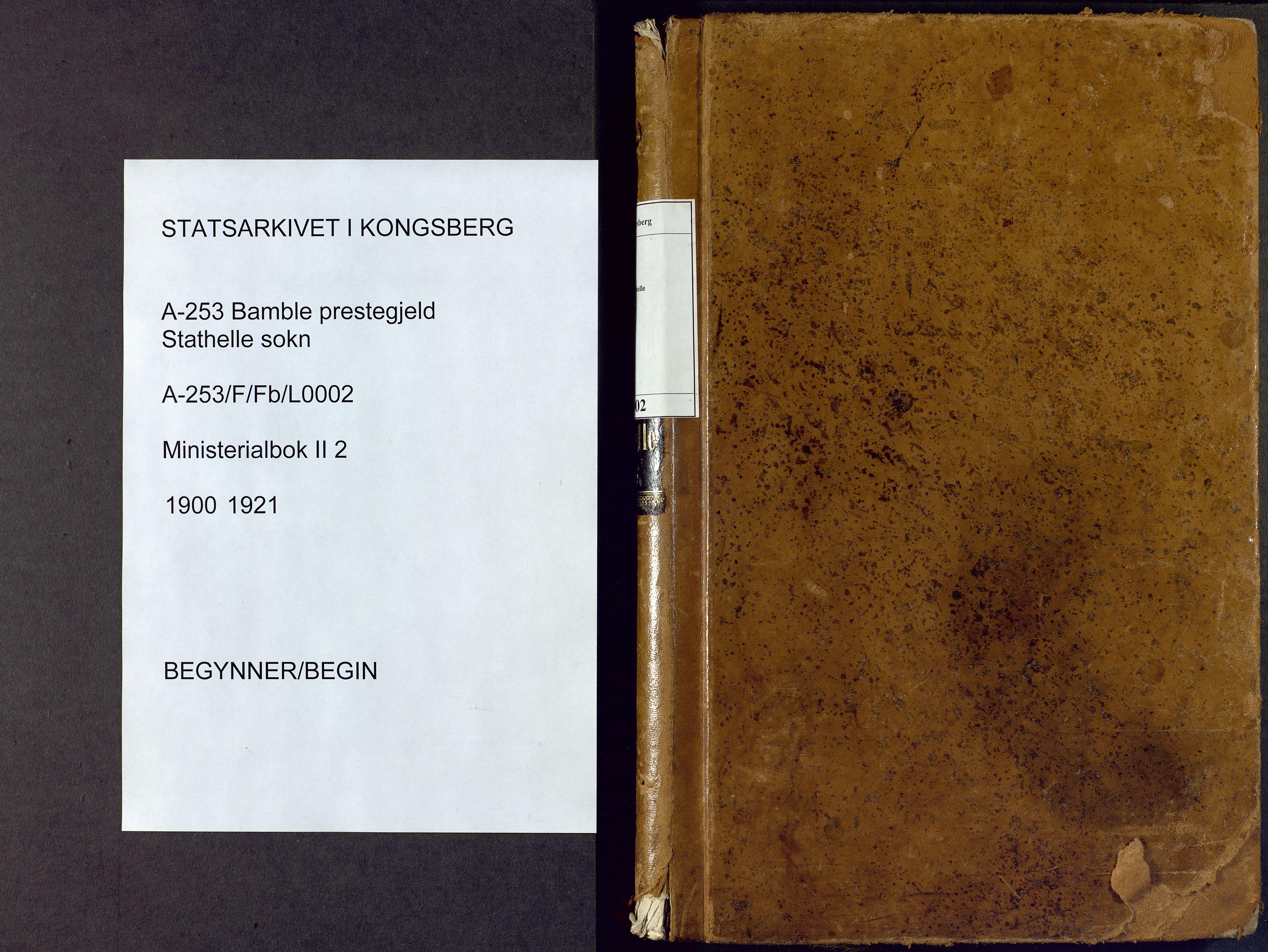 SAKO, Bamble kirkebøker, F/Fb/L0002: Ministerialbok nr. II 2, 1900-1921