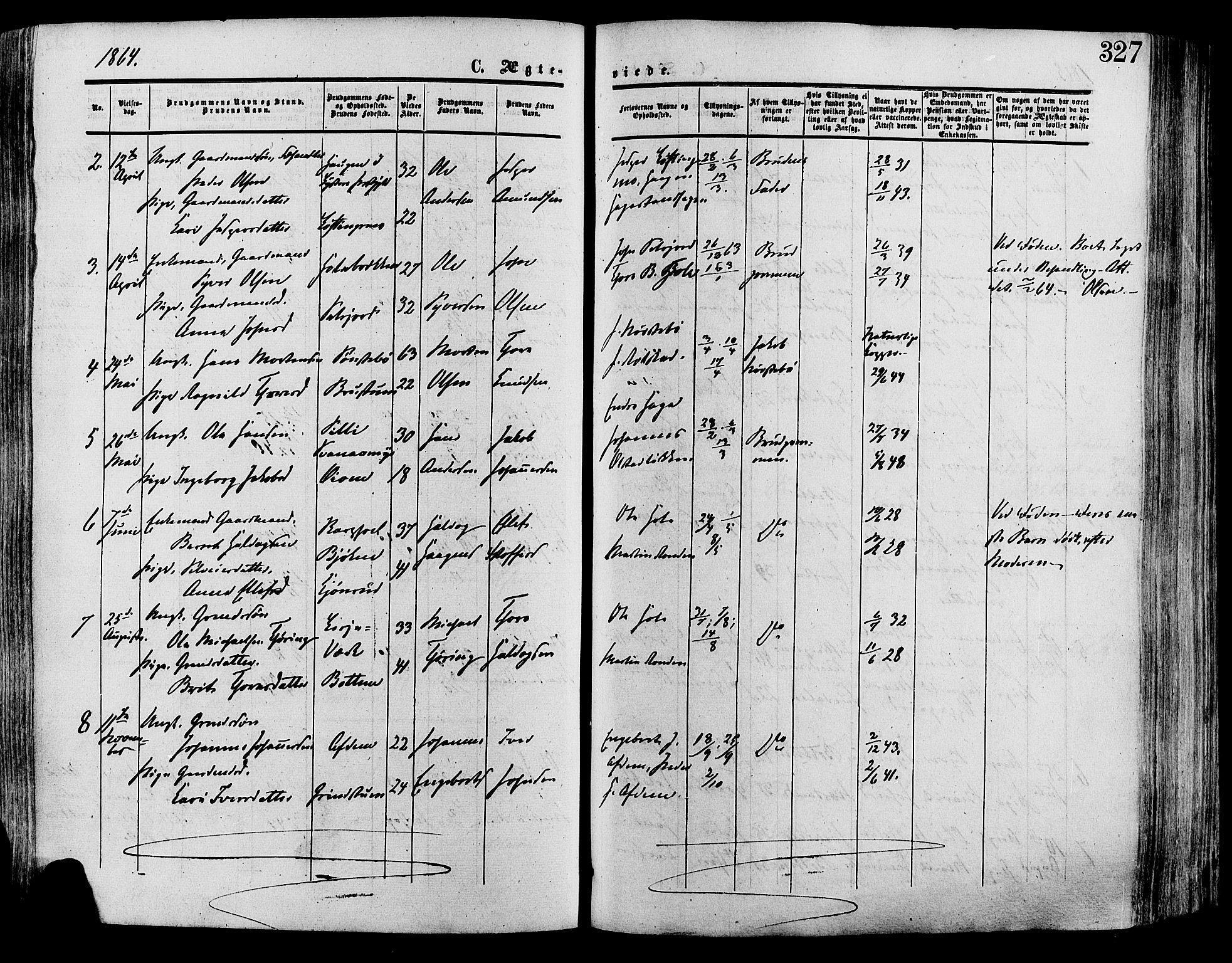 SAH, Lesja prestekontor, Ministerialbok nr. 8, 1854-1880, s. 327
