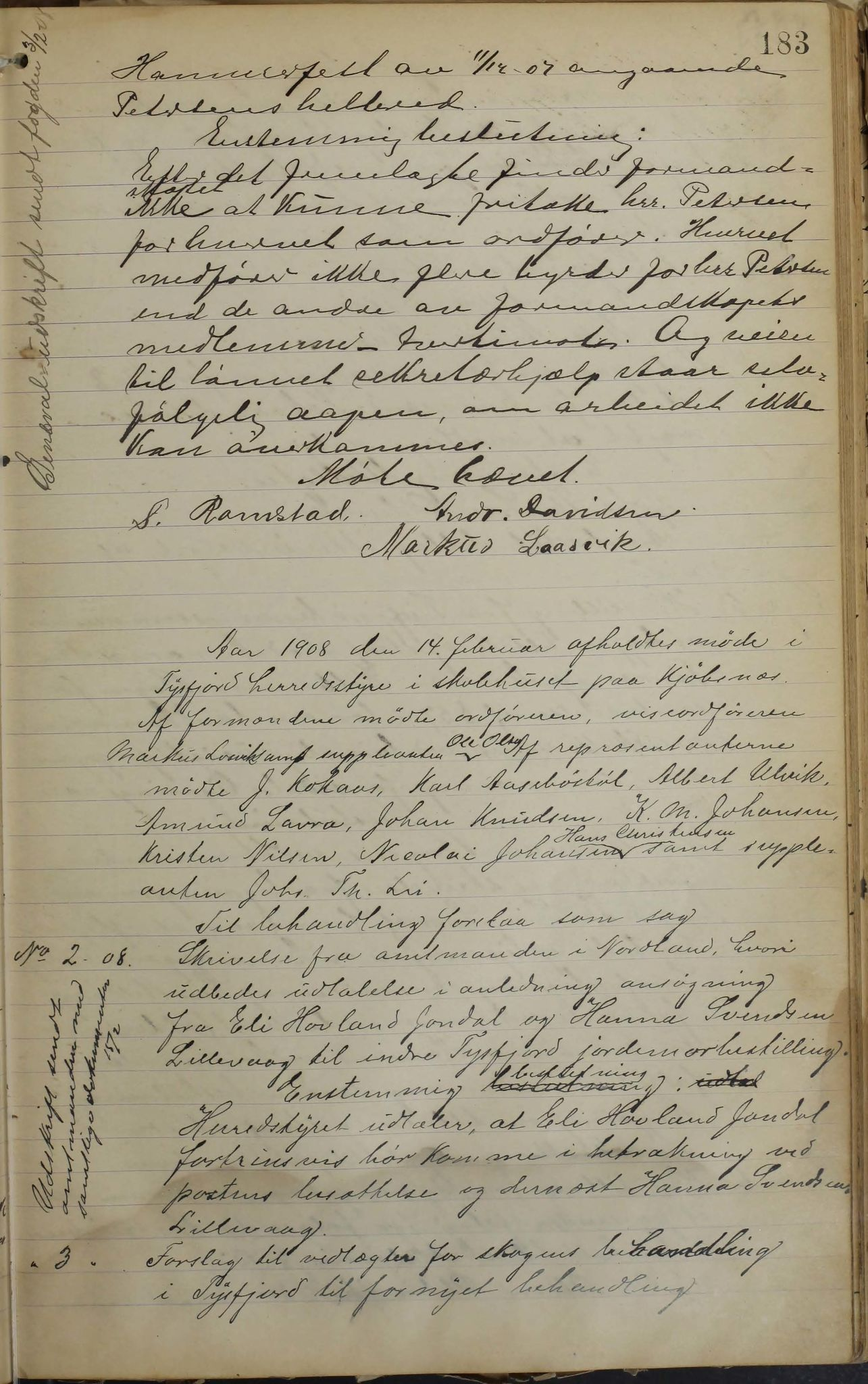 AIN, Tysfjord kommune. Formannskapet, 100/L0002: Forhandlingsprotokoll for Tysfjordens formandskap, 1895-1912, s. 183