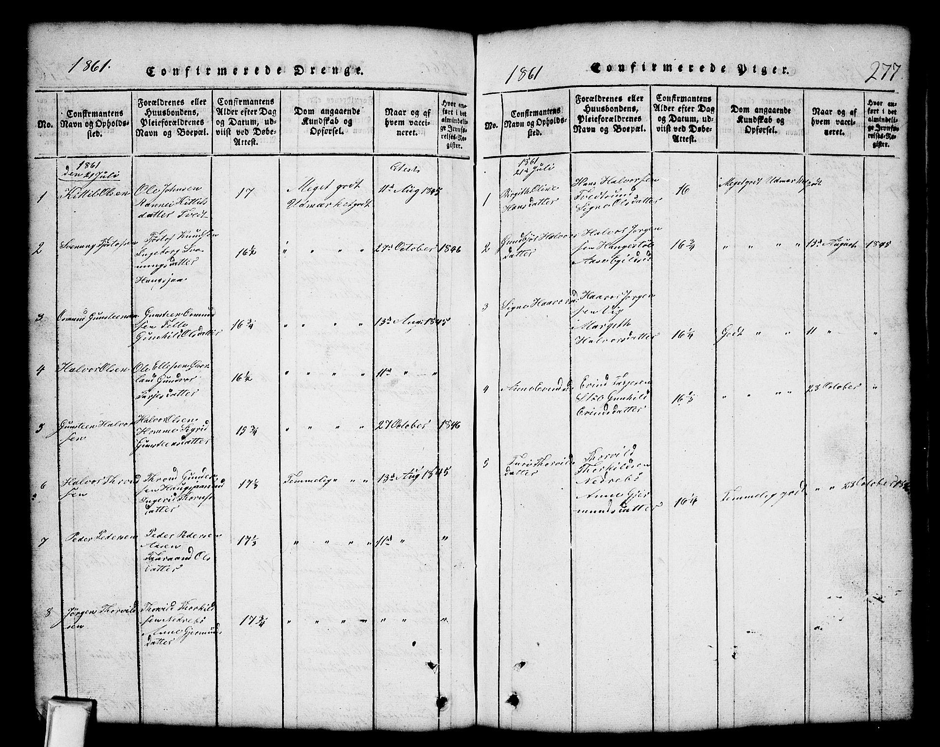 SAKO, Nissedal kirkebøker, G/Gb/L0001: Klokkerbok nr. II 1, 1814-1862, s. 277