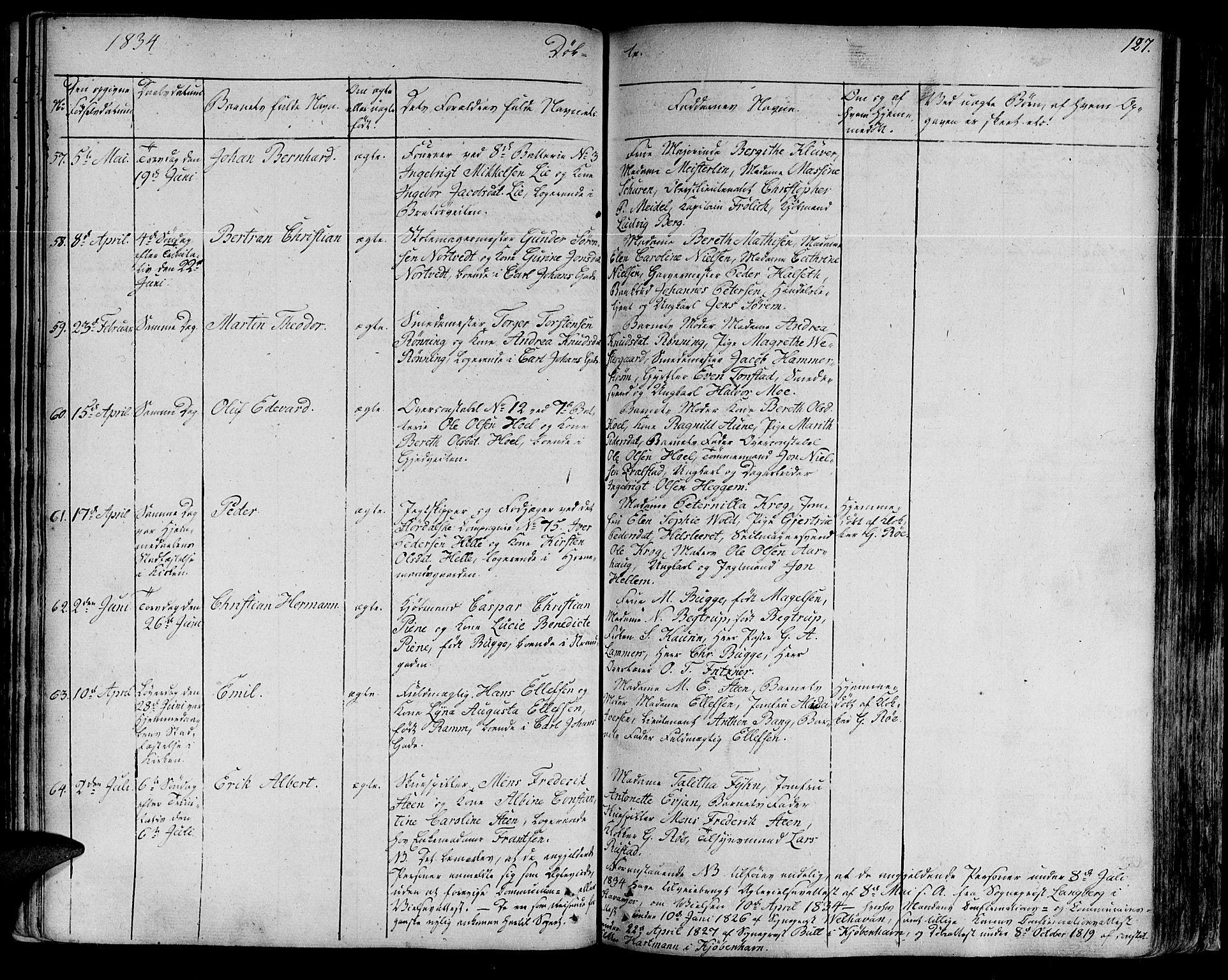 SAT, Ministerialprotokoller, klokkerbøker og fødselsregistre - Sør-Trøndelag, 602/L0108: Ministerialbok nr. 602A06, 1821-1839, s. 127