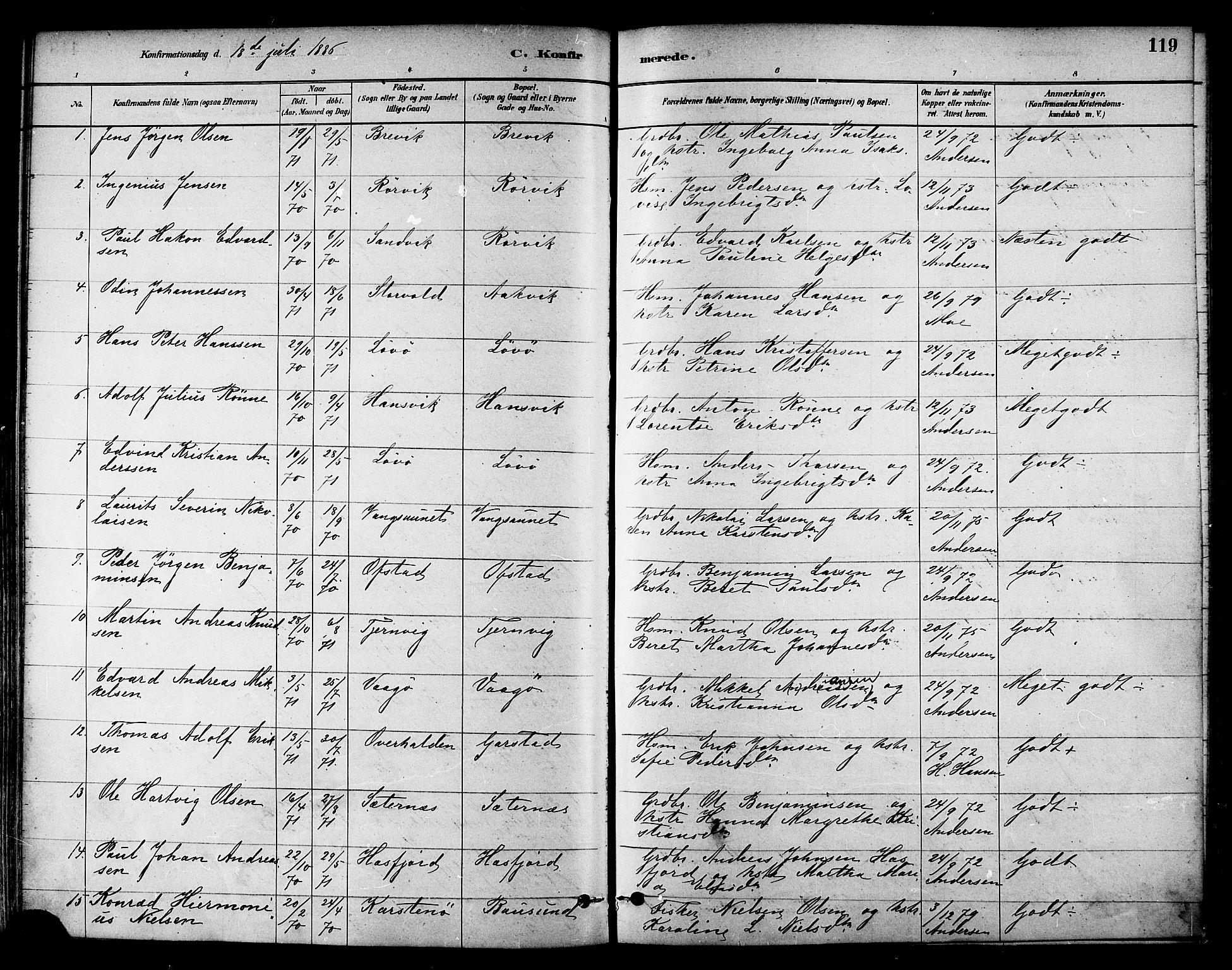 SAT, Ministerialprotokoller, klokkerbøker og fødselsregistre - Nord-Trøndelag, 786/L0686: Ministerialbok nr. 786A02, 1880-1887, s. 119