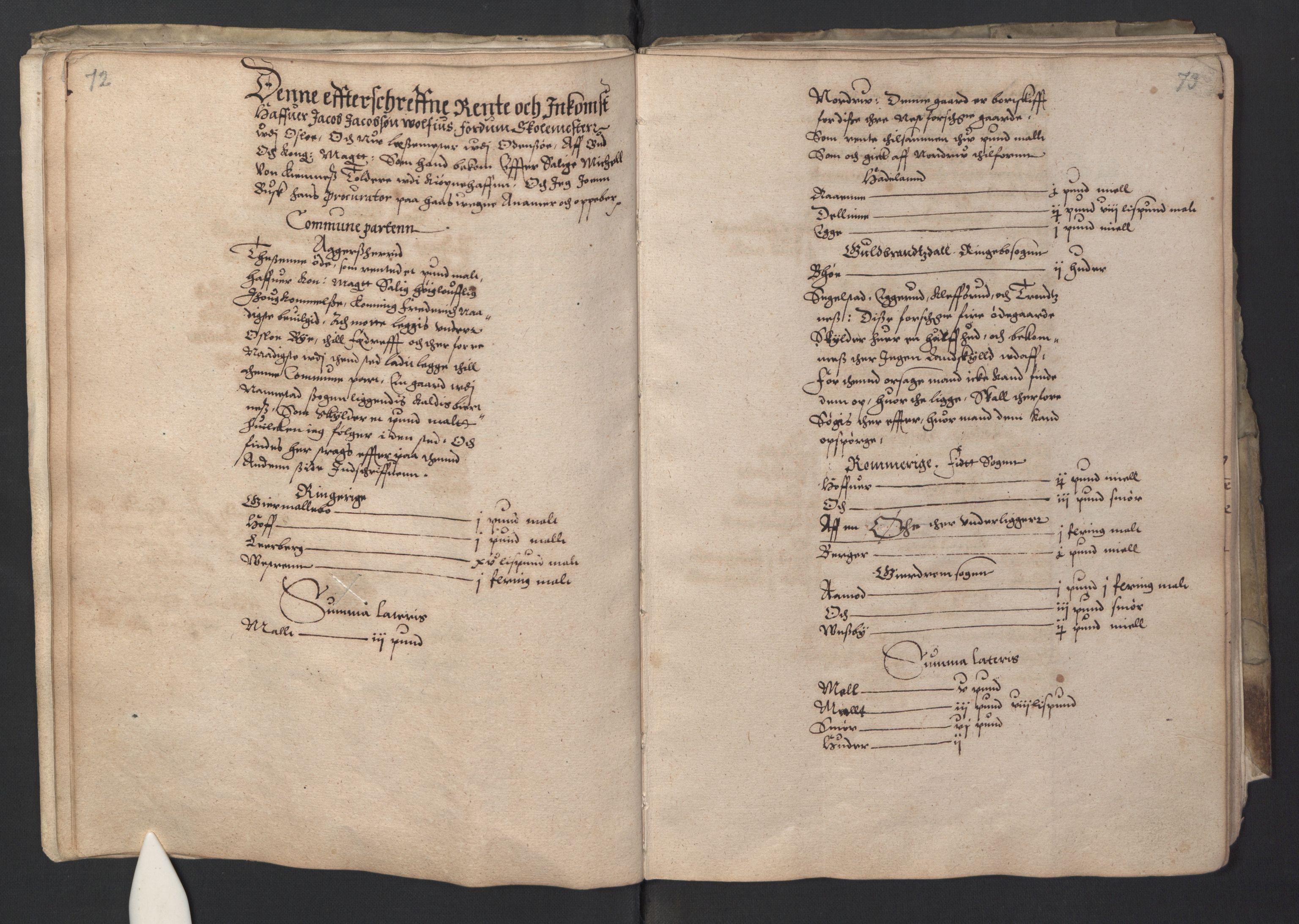 RA, Stattholderembetet 1572-1771, Ek/L0001: Jordebøker før 1624 og til utligning av garnisonsskatt 1624-1626:, 1595, s. 72-73