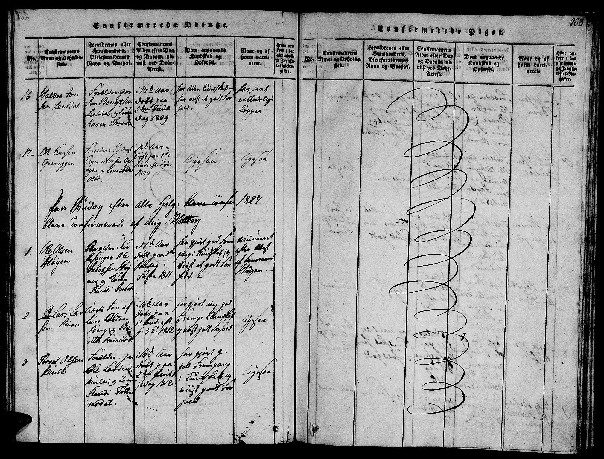 SAT, Ministerialprotokoller, klokkerbøker og fødselsregistre - Sør-Trøndelag, 612/L0372: Ministerialbok nr. 612A06 /1, 1816-1828, s. 263