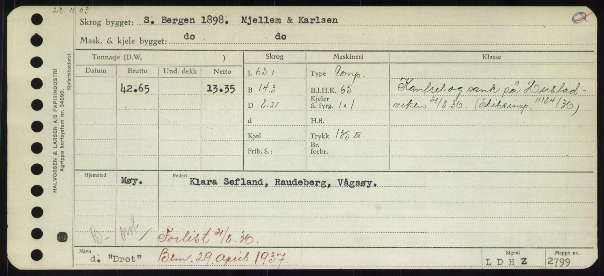 RA, Sjøfartsdirektoratet med forløpere, Skipsmålingen, H/Hd/L0008: Fartøy, C-D, s. 657