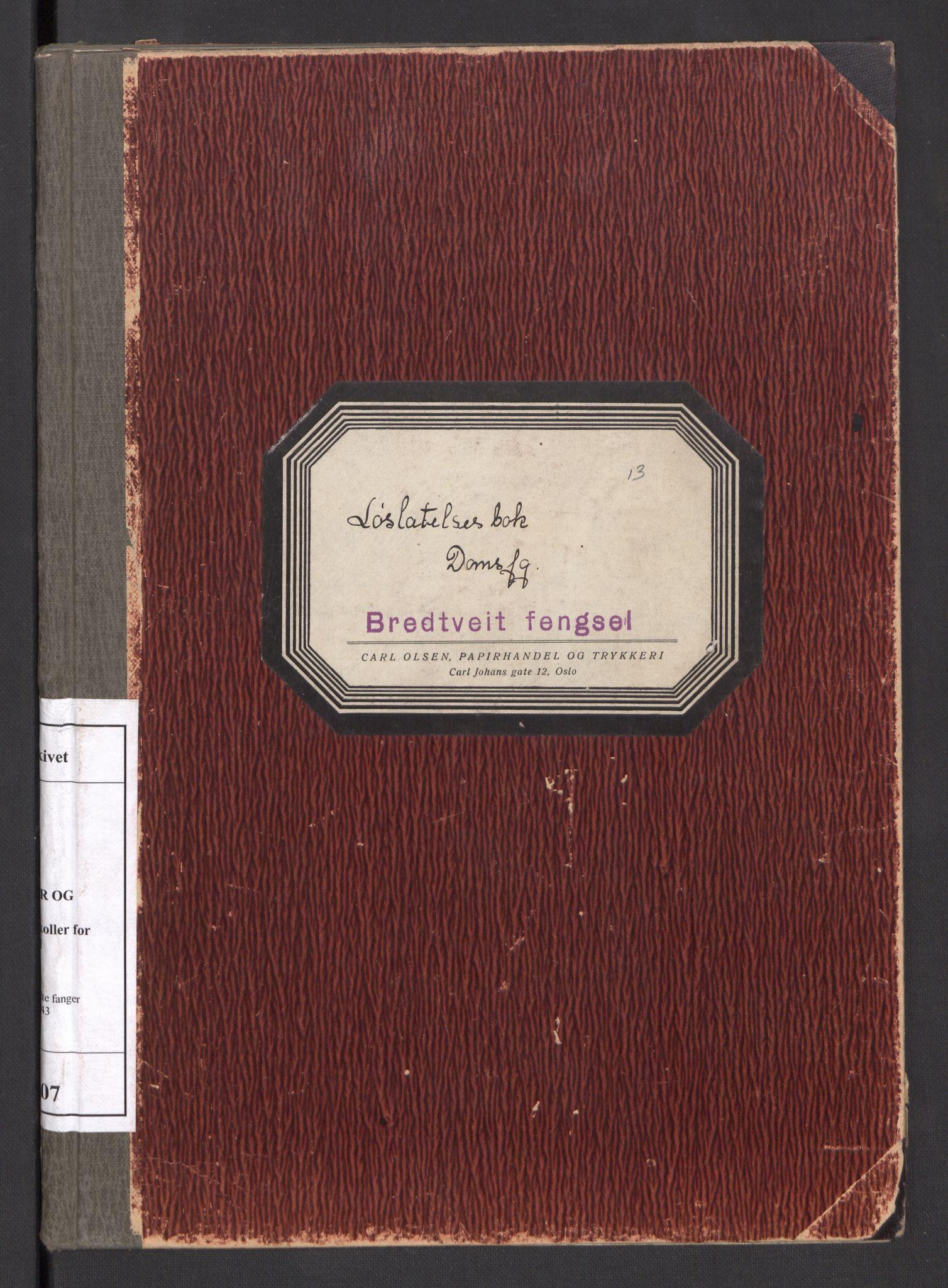 RA, Statspolitiet - Hovedkontoret / Osloavdelingen, C/Cl/L0007: Løslatelsesbok domfelte fanger, 1941-1943