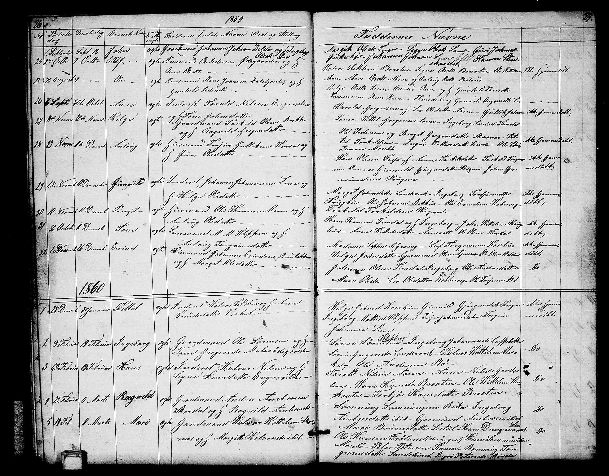 SAKO, Hjartdal kirkebøker, G/Gb/L0002: Klokkerbok nr. II 2, 1854-1884, s. 26-27