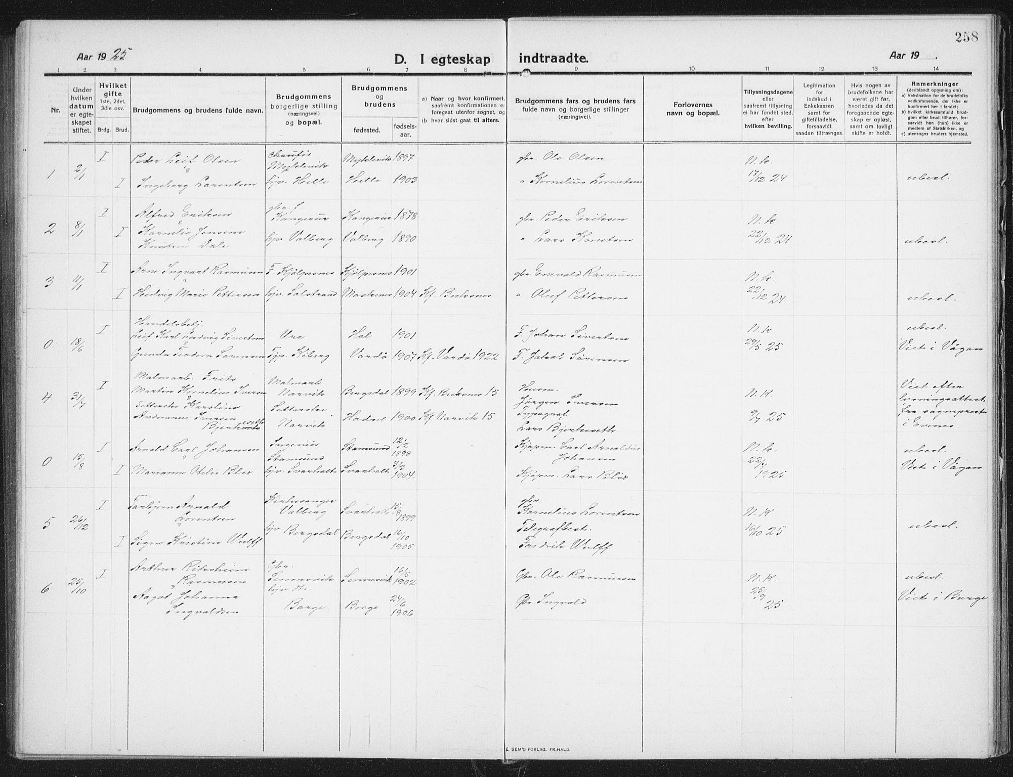 SAT, Ministerialprotokoller, klokkerbøker og fødselsregistre - Nordland, 882/L1183: Klokkerbok nr. 882C01, 1911-1938, s. 258