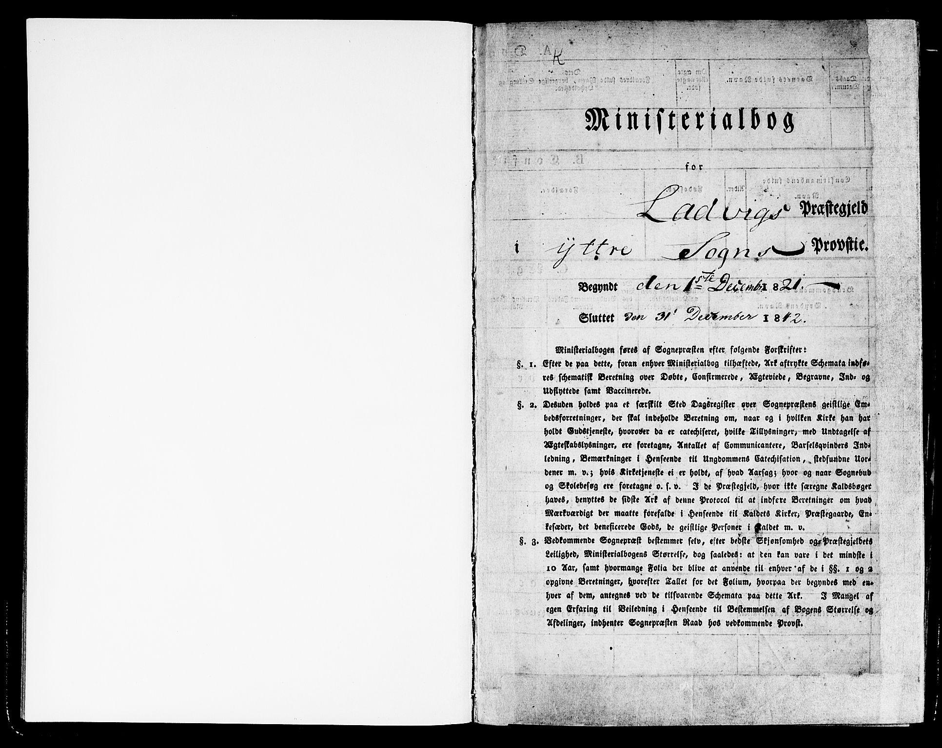 SAB, Lavik sokneprestembete, Ministerialbok nr. A 2I, 1821-1842