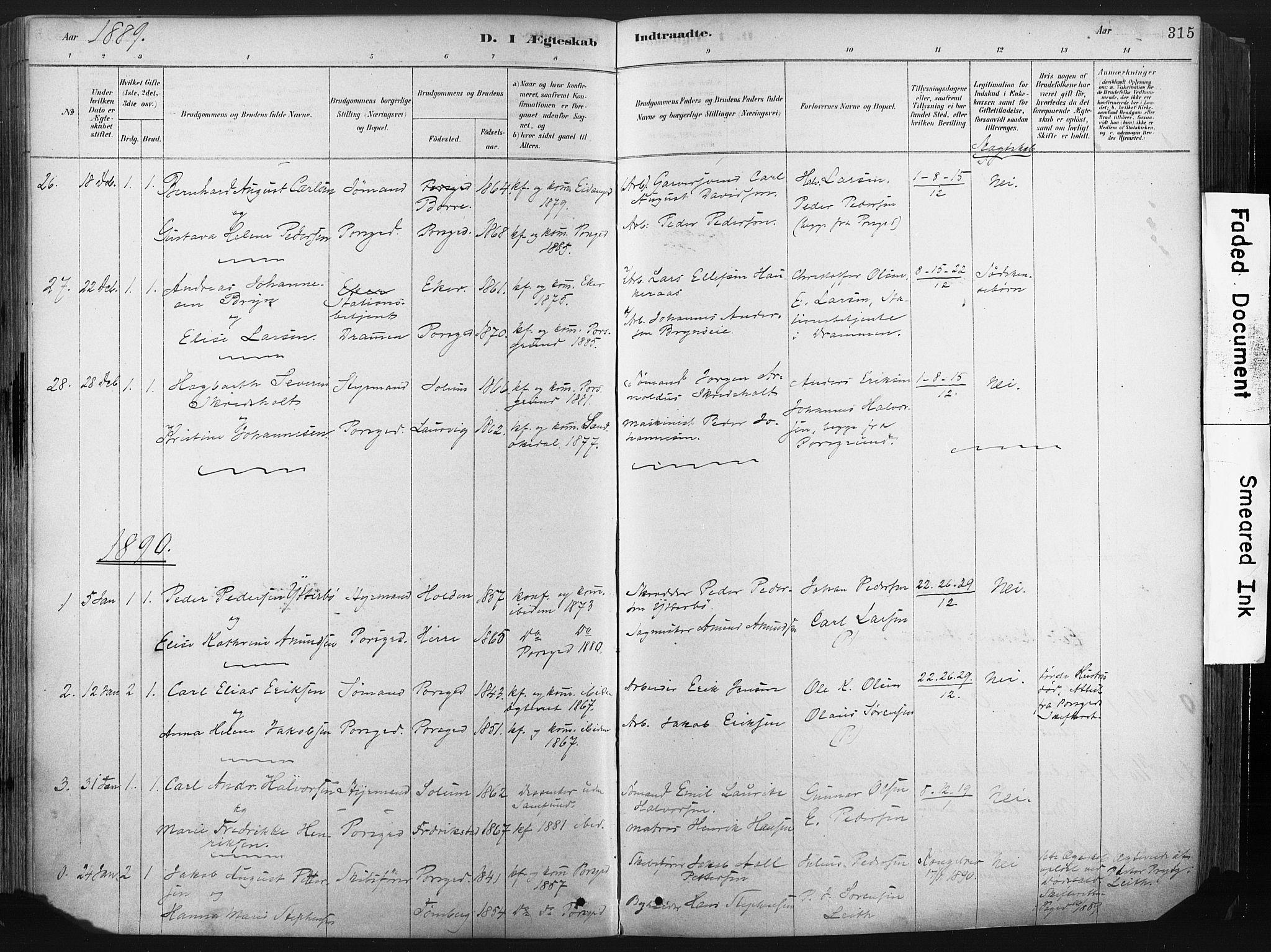 SAKO, Porsgrunn kirkebøker , F/Fa/L0008: Ministerialbok nr. 8, 1878-1895, s. 315