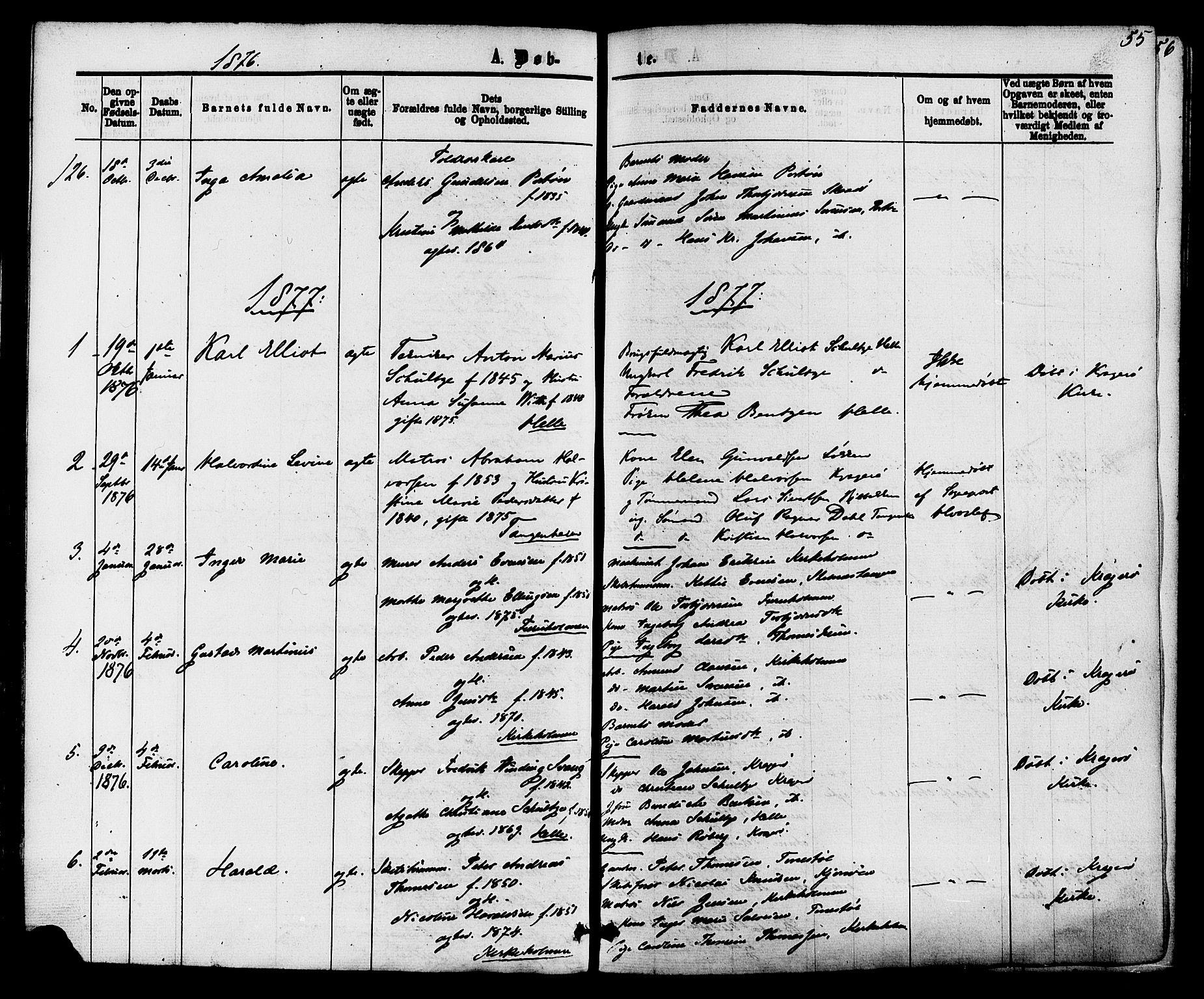 SAKO, Skåtøy kirkebøker, F/Fa/L0001: Ministerialbok nr. I 1, 1874-1883, s. 55