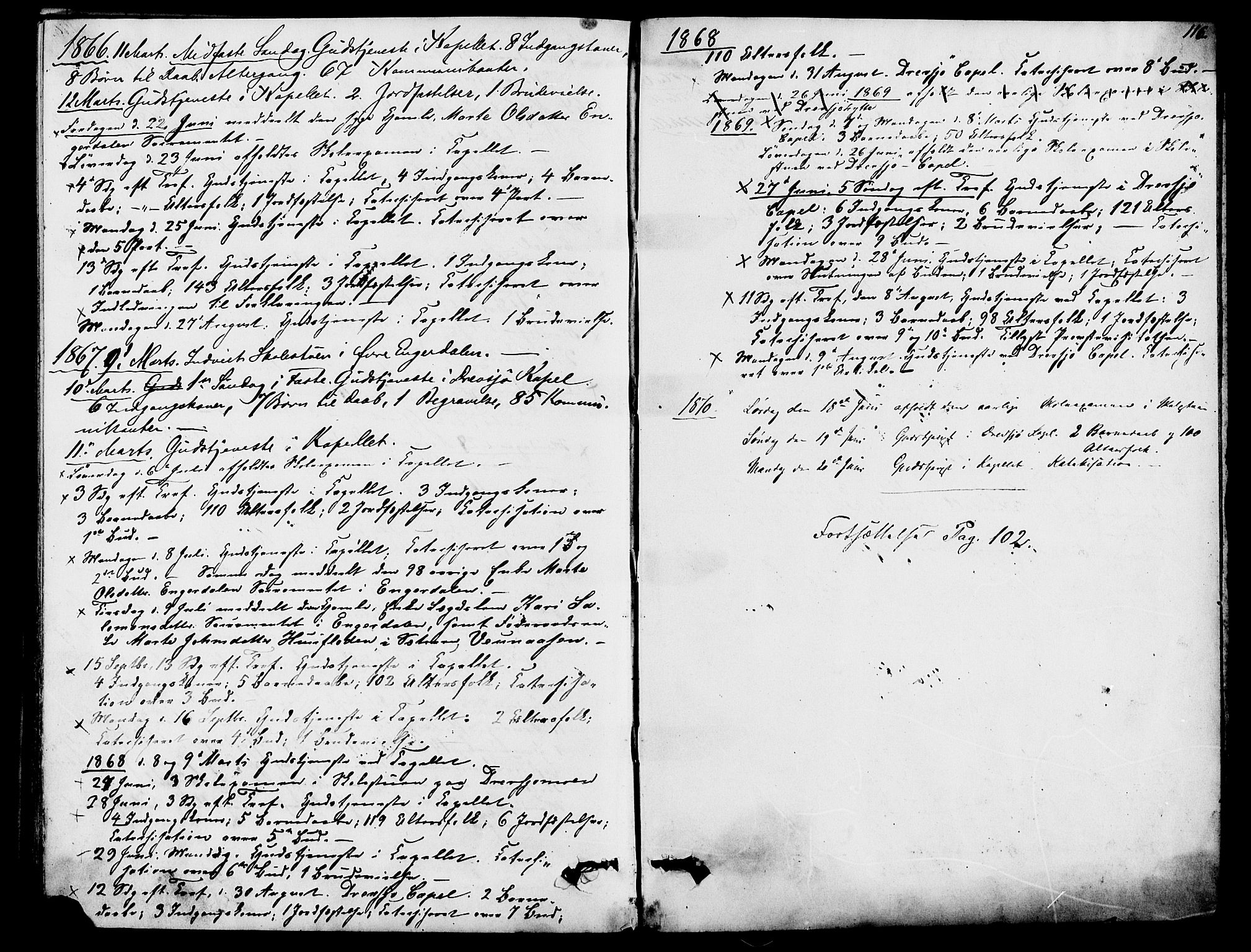 SAH, Rendalen prestekontor, H/Ha/Hab/L0002: Klokkerbok nr. 2, 1858-1880, s. 116