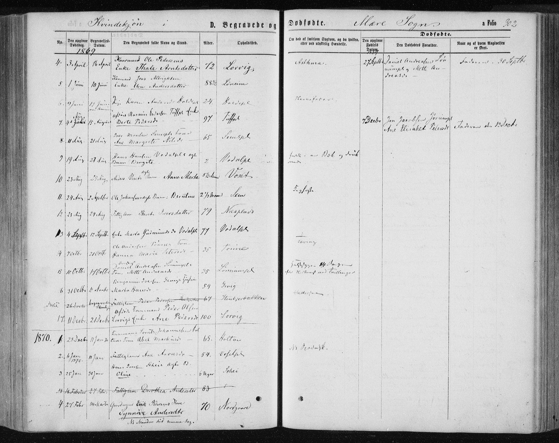SAT, Ministerialprotokoller, klokkerbøker og fødselsregistre - Nord-Trøndelag, 735/L0345: Ministerialbok nr. 735A08 /1, 1863-1872, s. 302