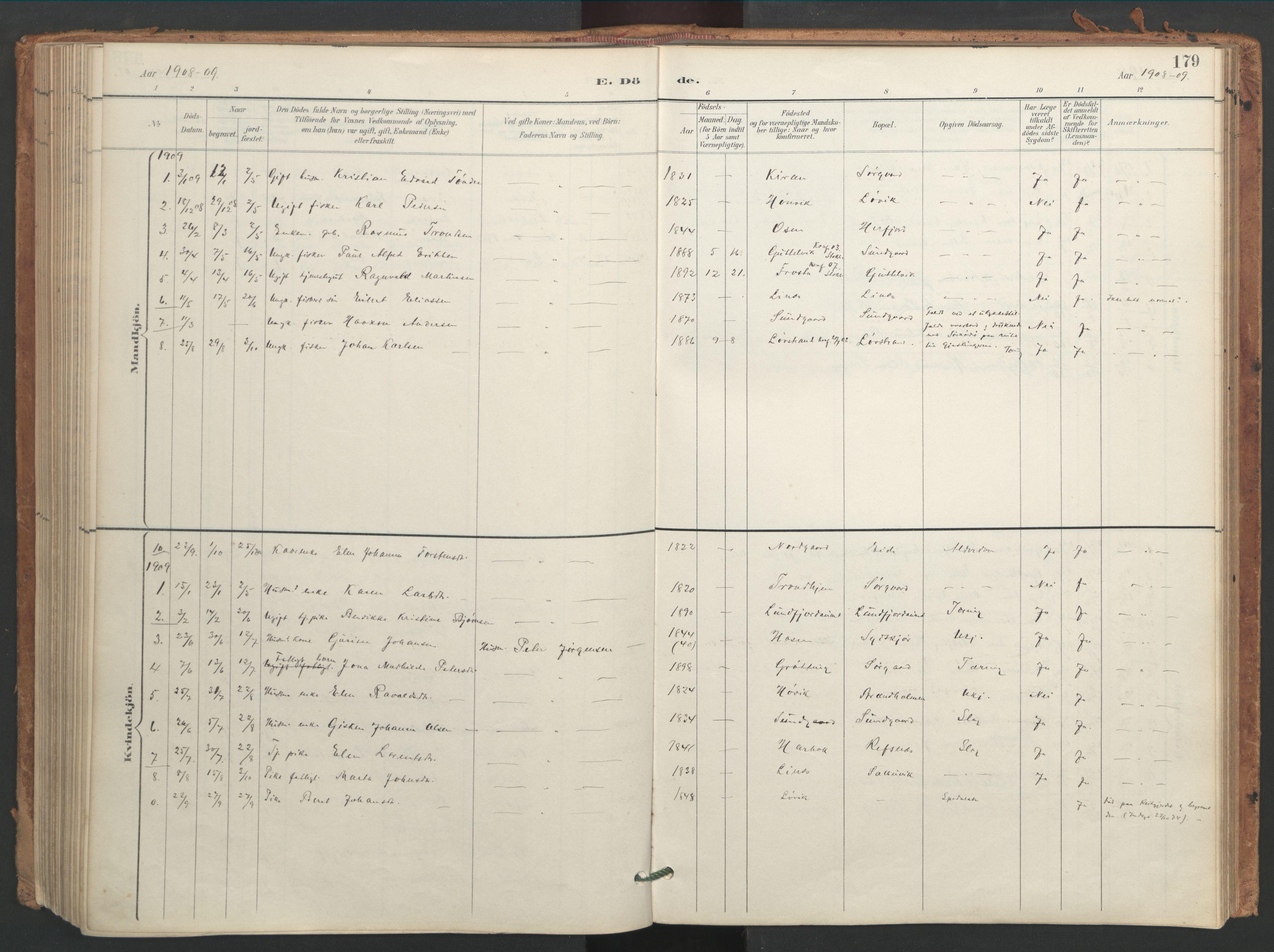 SAT, Ministerialprotokoller, klokkerbøker og fødselsregistre - Sør-Trøndelag, 656/L0693: Ministerialbok nr. 656A02, 1894-1913, s. 179
