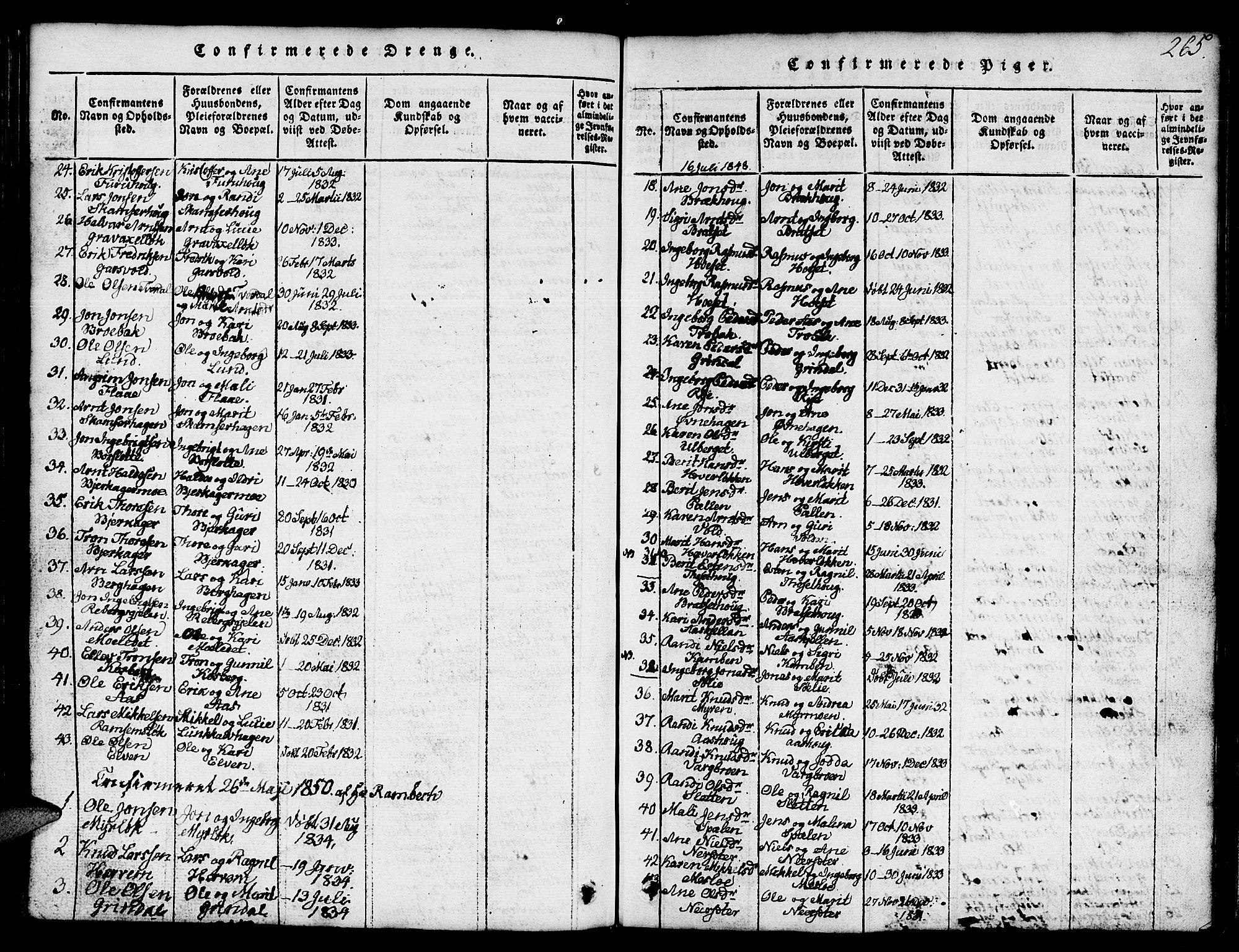 SAT, Ministerialprotokoller, klokkerbøker og fødselsregistre - Sør-Trøndelag, 674/L0874: Klokkerbok nr. 674C01, 1816-1860, s. 265