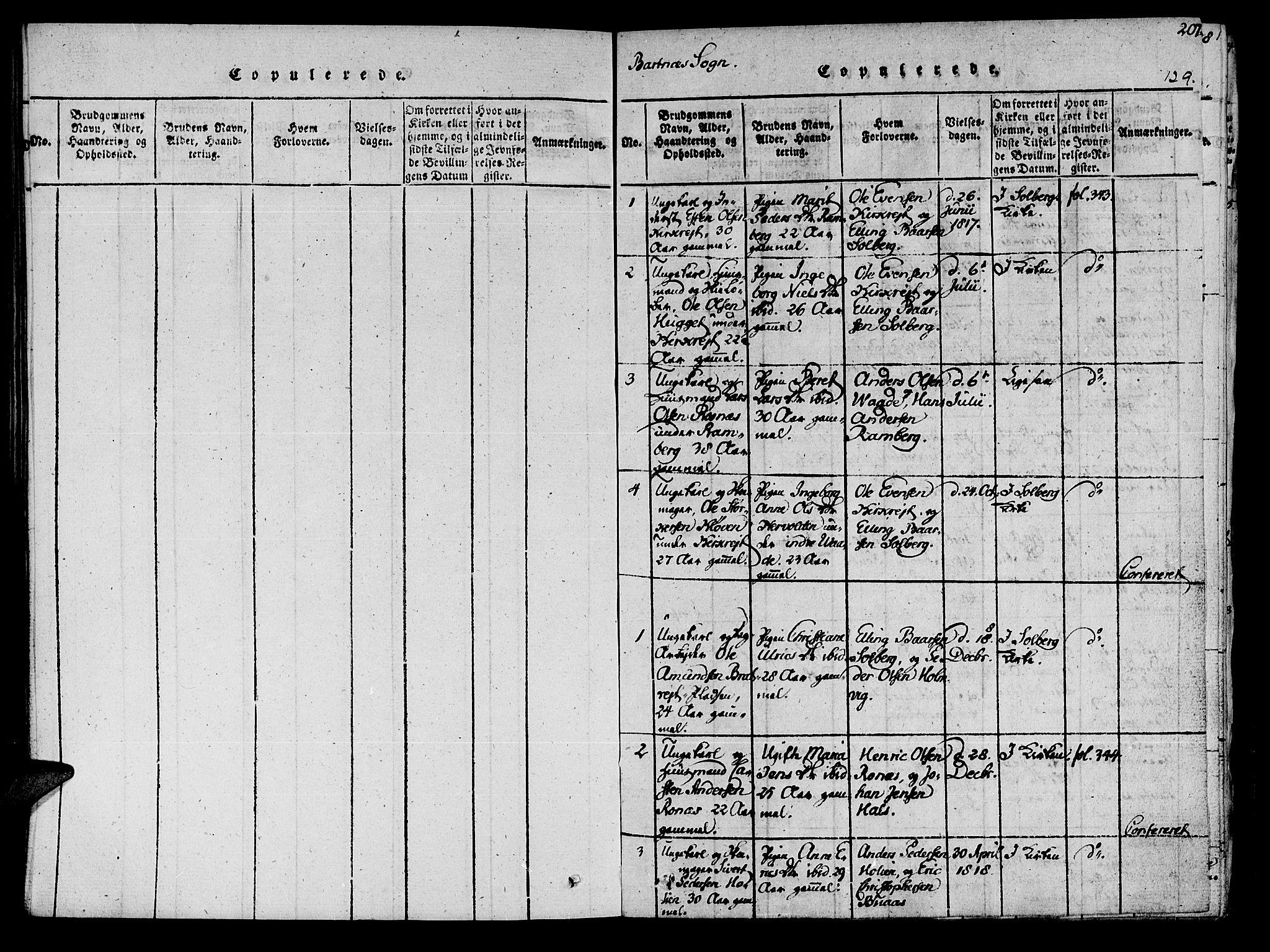 SAT, Ministerialprotokoller, klokkerbøker og fødselsregistre - Nord-Trøndelag, 741/L0387: Ministerialbok nr. 741A03 /2, 1817-1822, s. 129