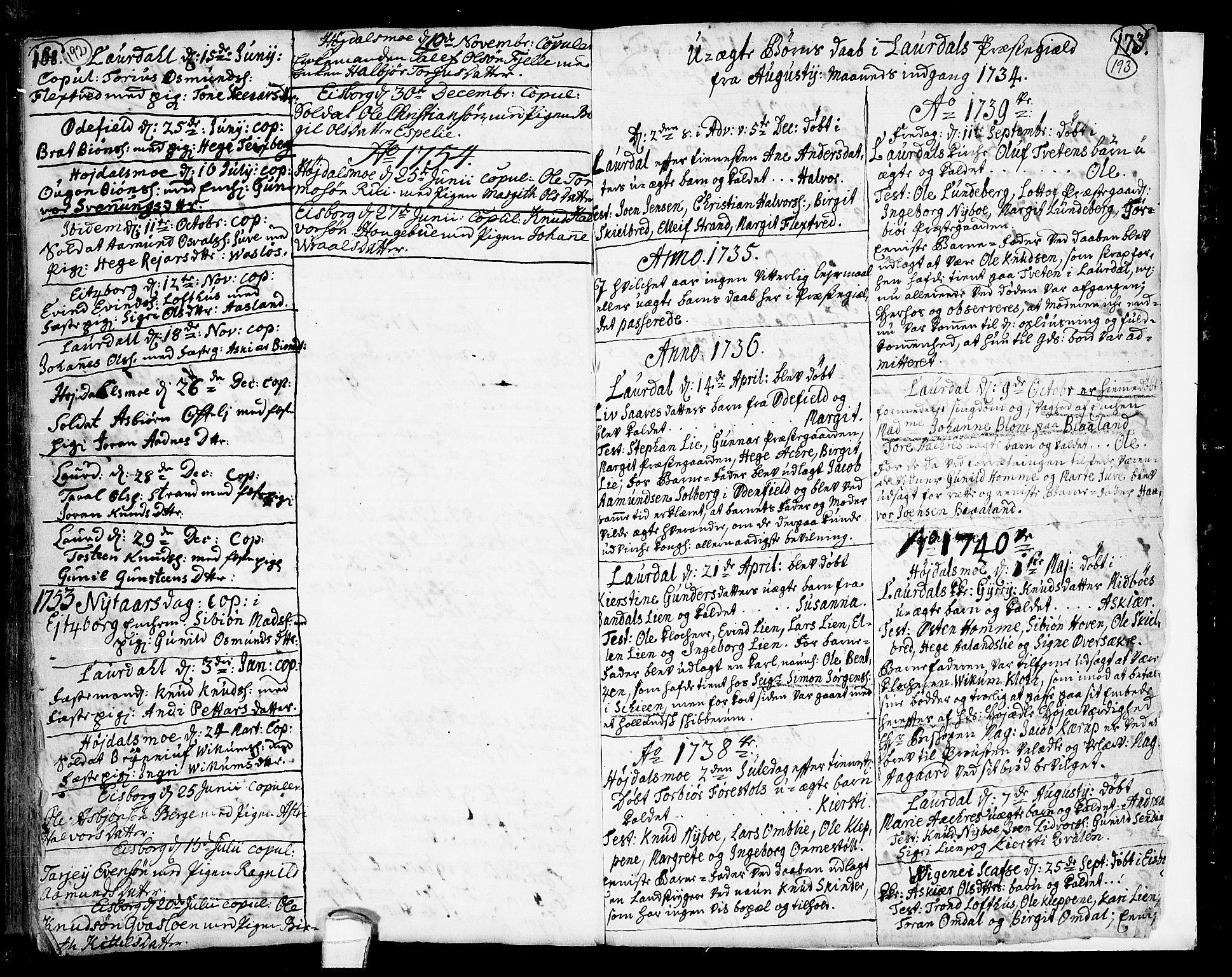 SAKO, Lårdal kirkebøker, F/Fa/L0002: Ministerialbok nr. I 2, 1734-1754, s. 192-193
