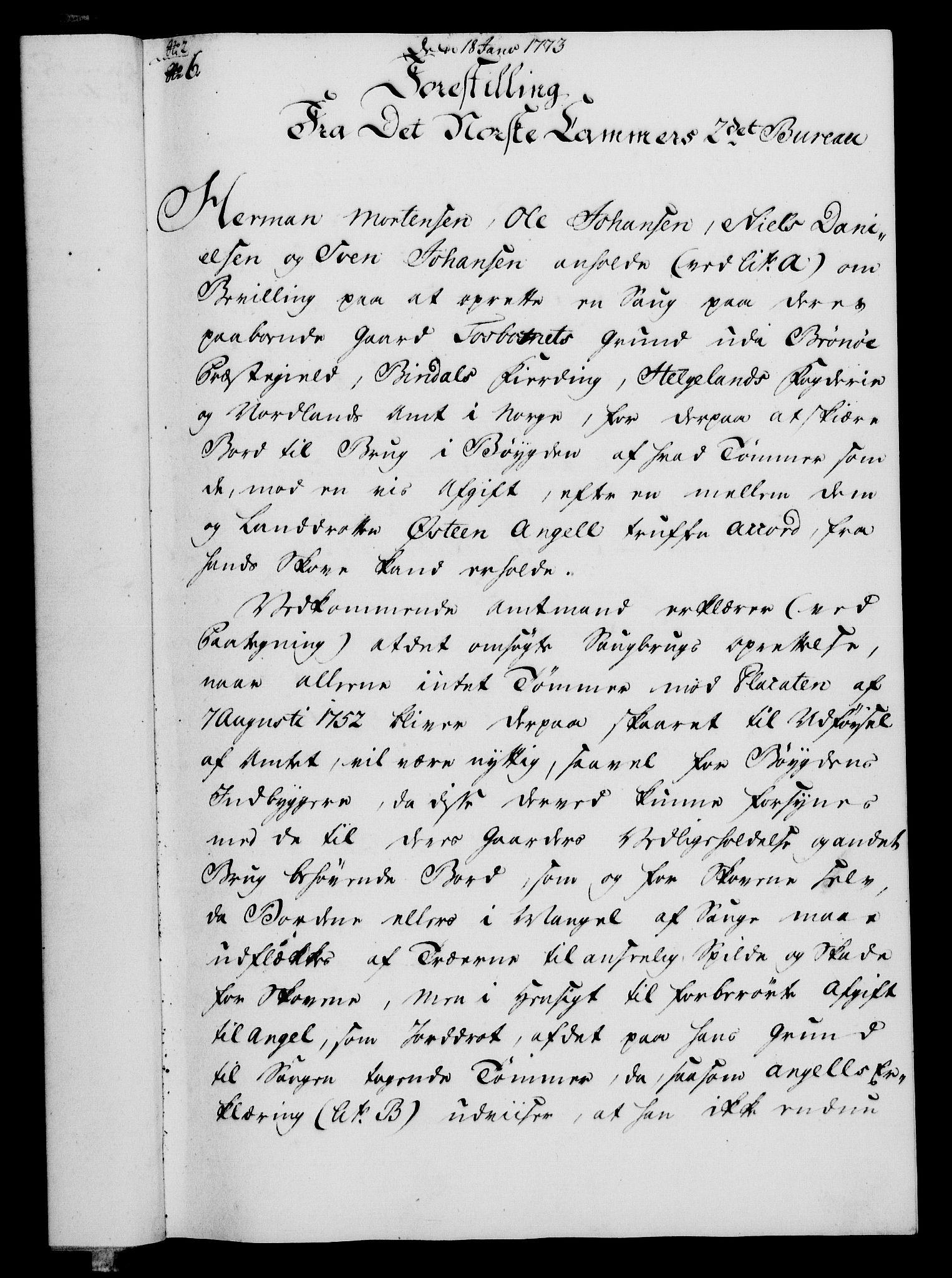 RA, Rentekammeret, Kammerkanselliet, G/Gf/Gfa/L0055: Norsk relasjons- og resolusjonsprotokoll (merket RK 52.55), 1773, s. 40