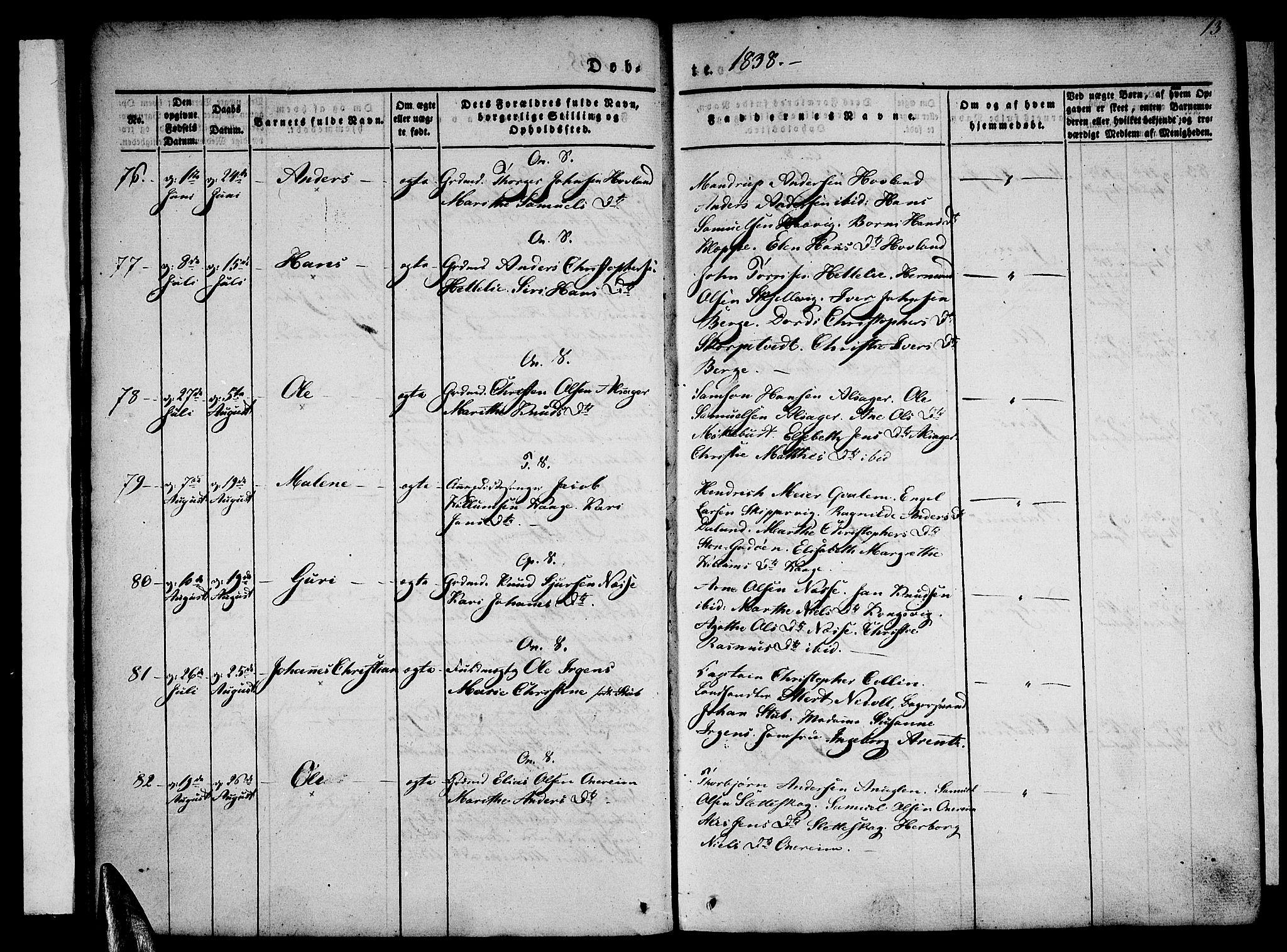 SAB, Tysnes sokneprestembete, H/Haa: Ministerialbok nr. A 9, 1837-1848, s. 13