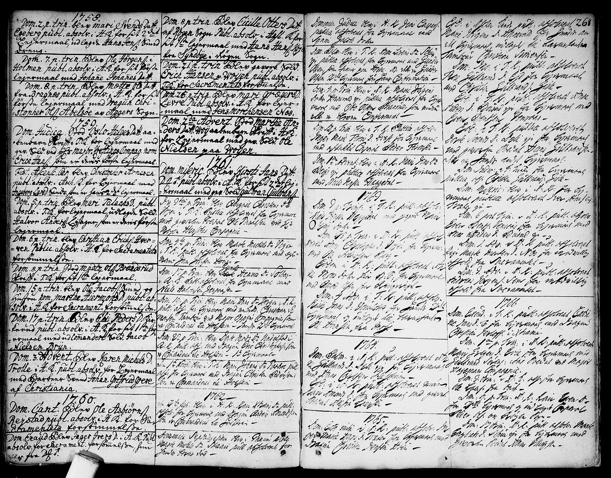 SAO, Asker prestekontor Kirkebøker, F/Fa/L0002: Ministerialbok nr. I 2, 1733-1766, s. 268