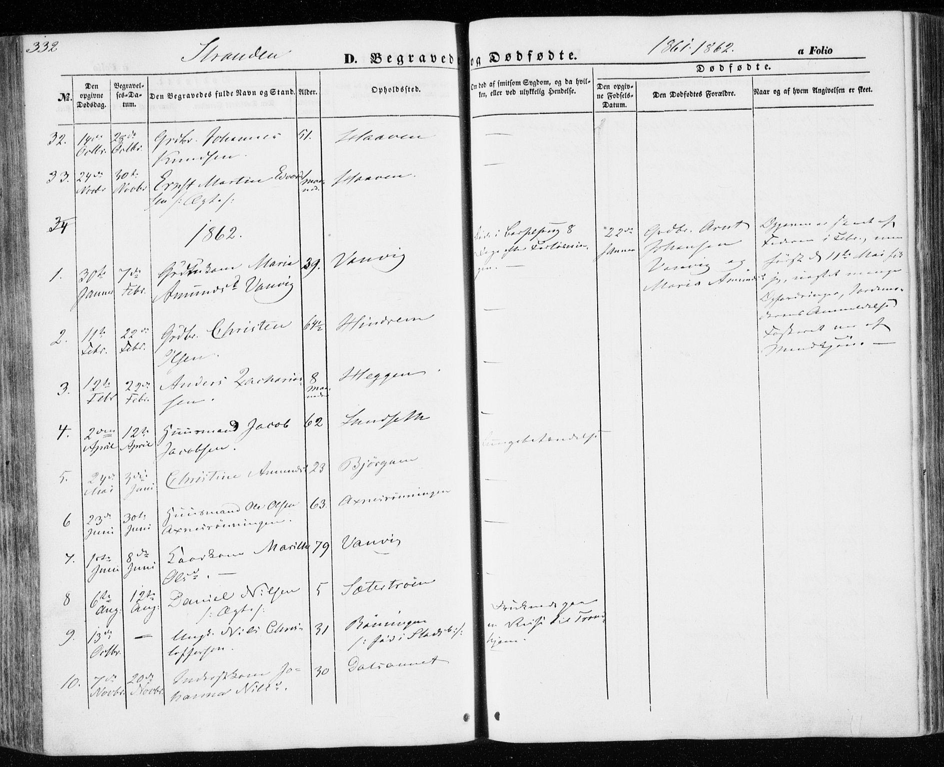 SAT, Ministerialprotokoller, klokkerbøker og fødselsregistre - Nord-Trøndelag, 701/L0008: Ministerialbok nr. 701A08 /2, 1854-1863, s. 332