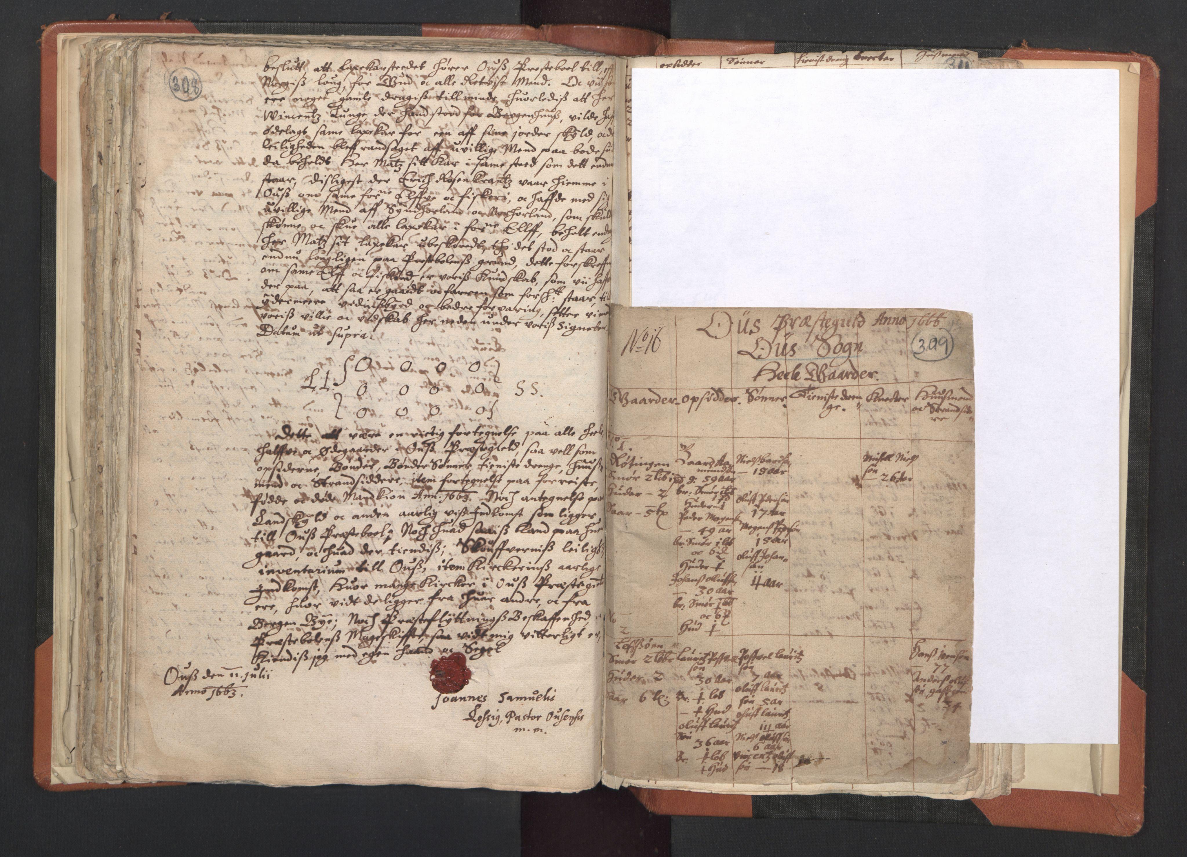 RA, Sogneprestenes manntall 1664-1666, nr. 20: Sunnhordland prosti, 1664-1666, s. 308-309