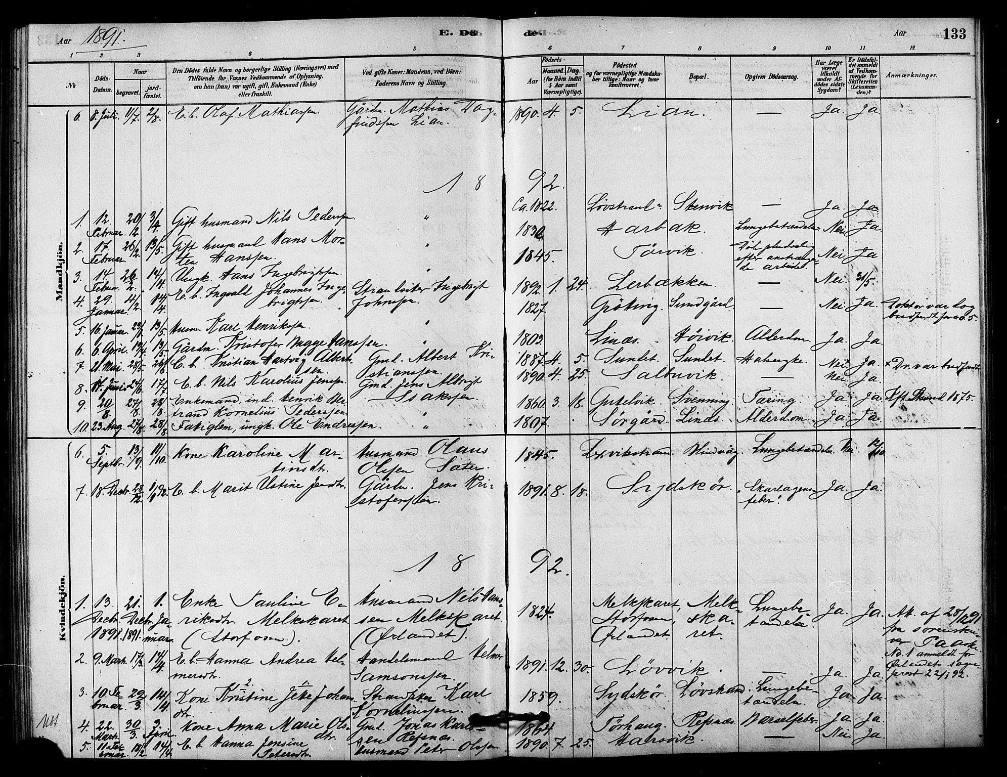 SAT, Ministerialprotokoller, klokkerbøker og fødselsregistre - Sør-Trøndelag, 656/L0692: Ministerialbok nr. 656A01, 1879-1893, s. 133