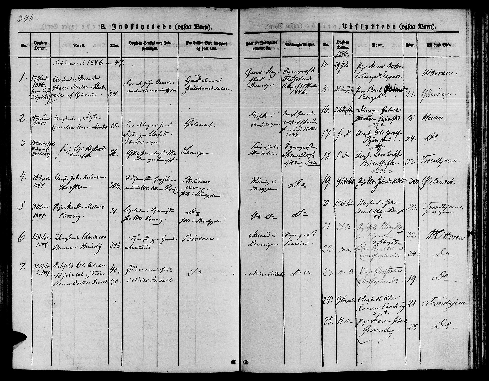 SAT, Ministerialprotokoller, klokkerbøker og fødselsregistre - Sør-Trøndelag, 646/L0610: Ministerialbok nr. 646A08, 1837-1847, s. 345