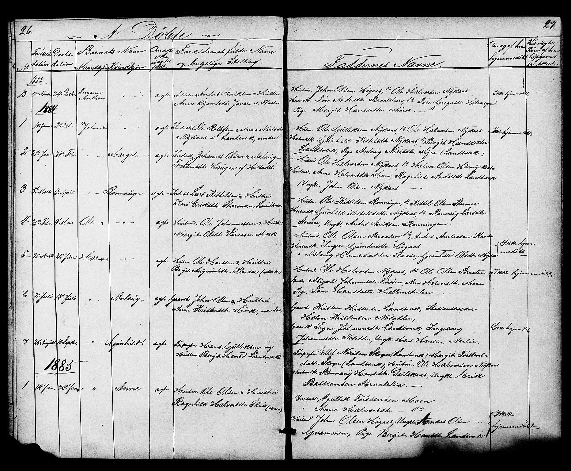 SAKO, Heddal kirkebøker, G/Gb/L0001: Klokkerbok nr. II 1, 1866-1887, s. 26-27