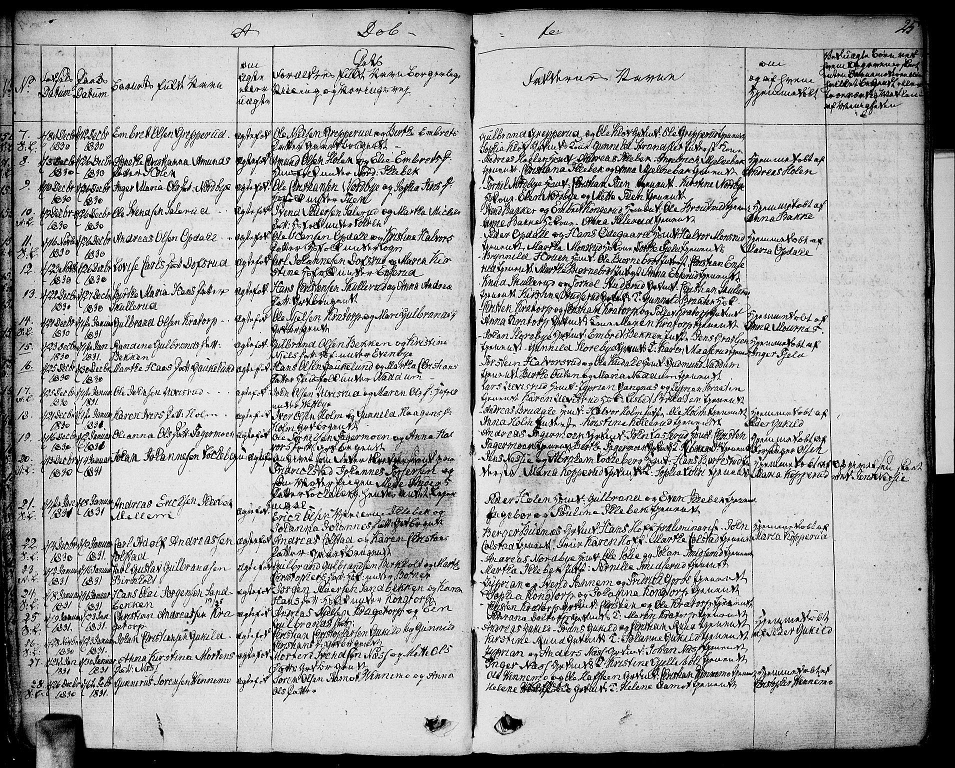 SAO, Høland prestekontor Kirkebøker, F/Fa/L0008: Ministerialbok nr. I 8, 1827-1845, s. 25
