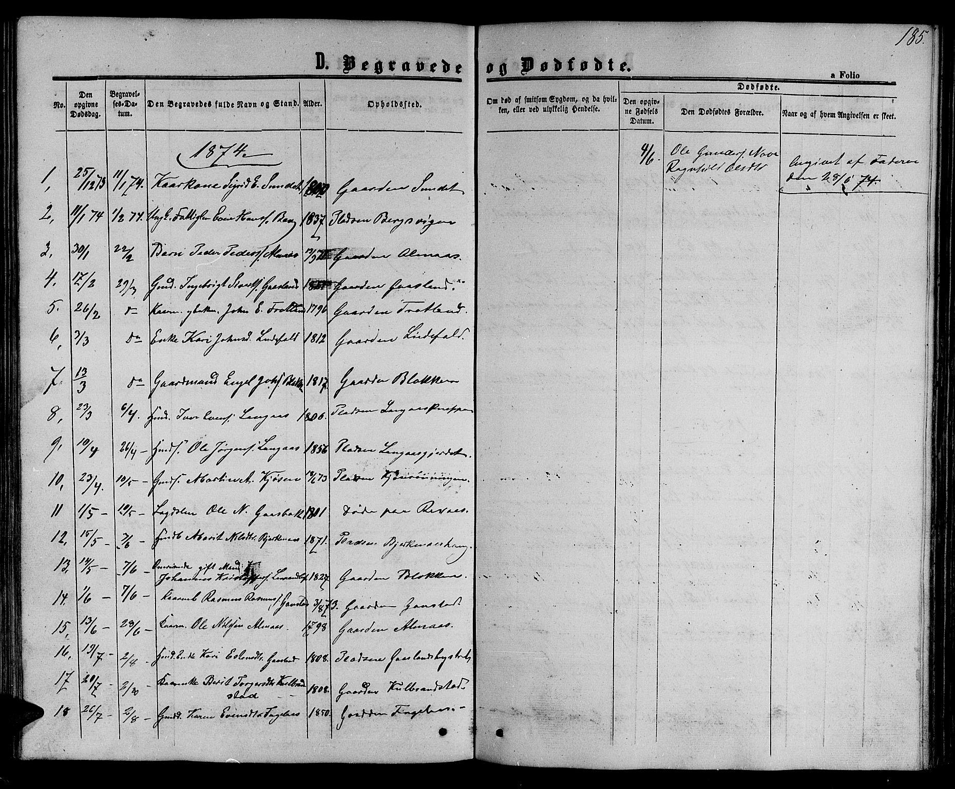 SAT, Ministerialprotokoller, klokkerbøker og fødselsregistre - Sør-Trøndelag, 694/L1131: Klokkerbok nr. 694C03, 1858-1886, s. 185