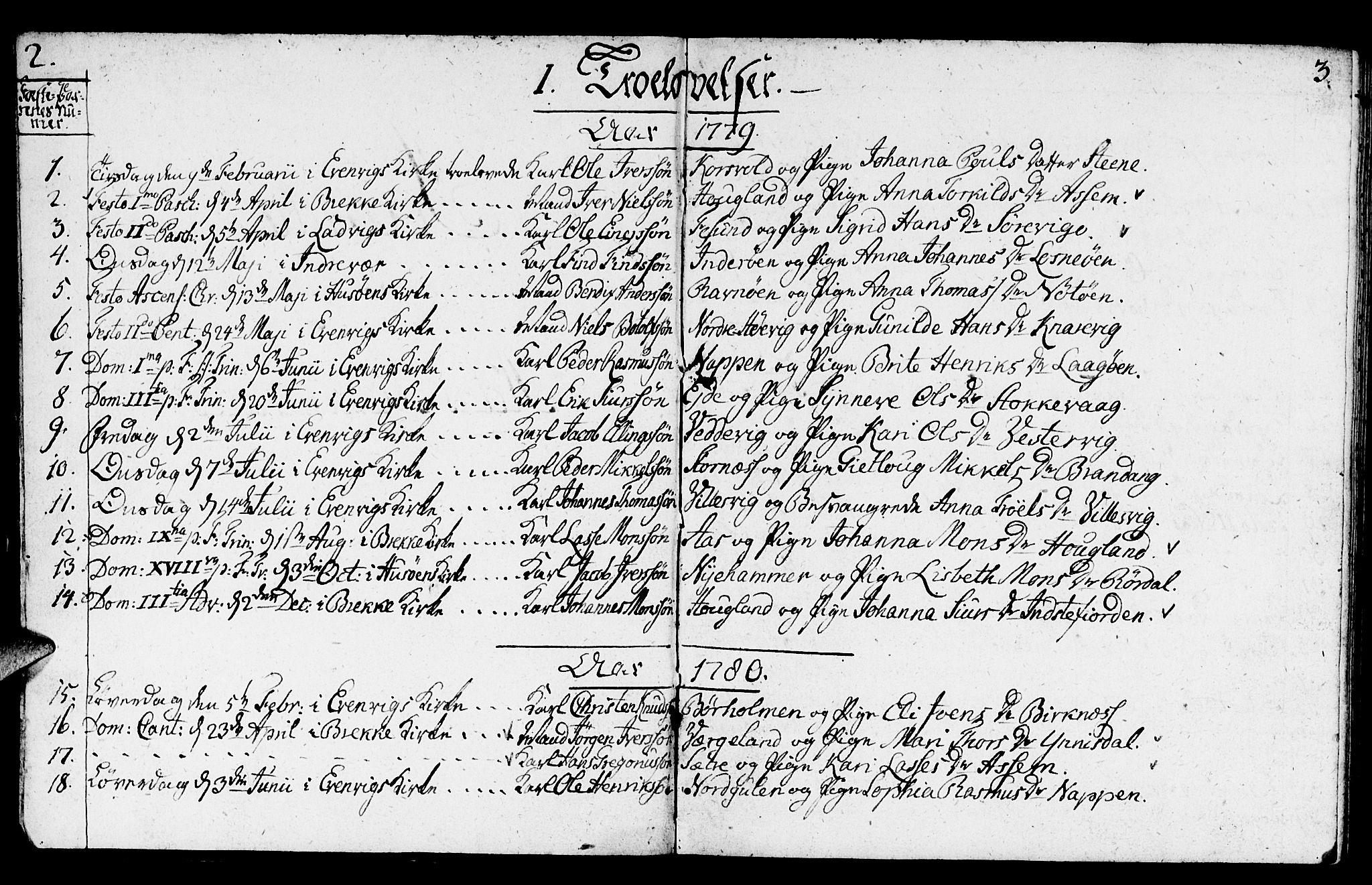 SAB, Gulen Sokneprestembete, Ministerialbok nr. A 14, 1779-1788, s. 2-3