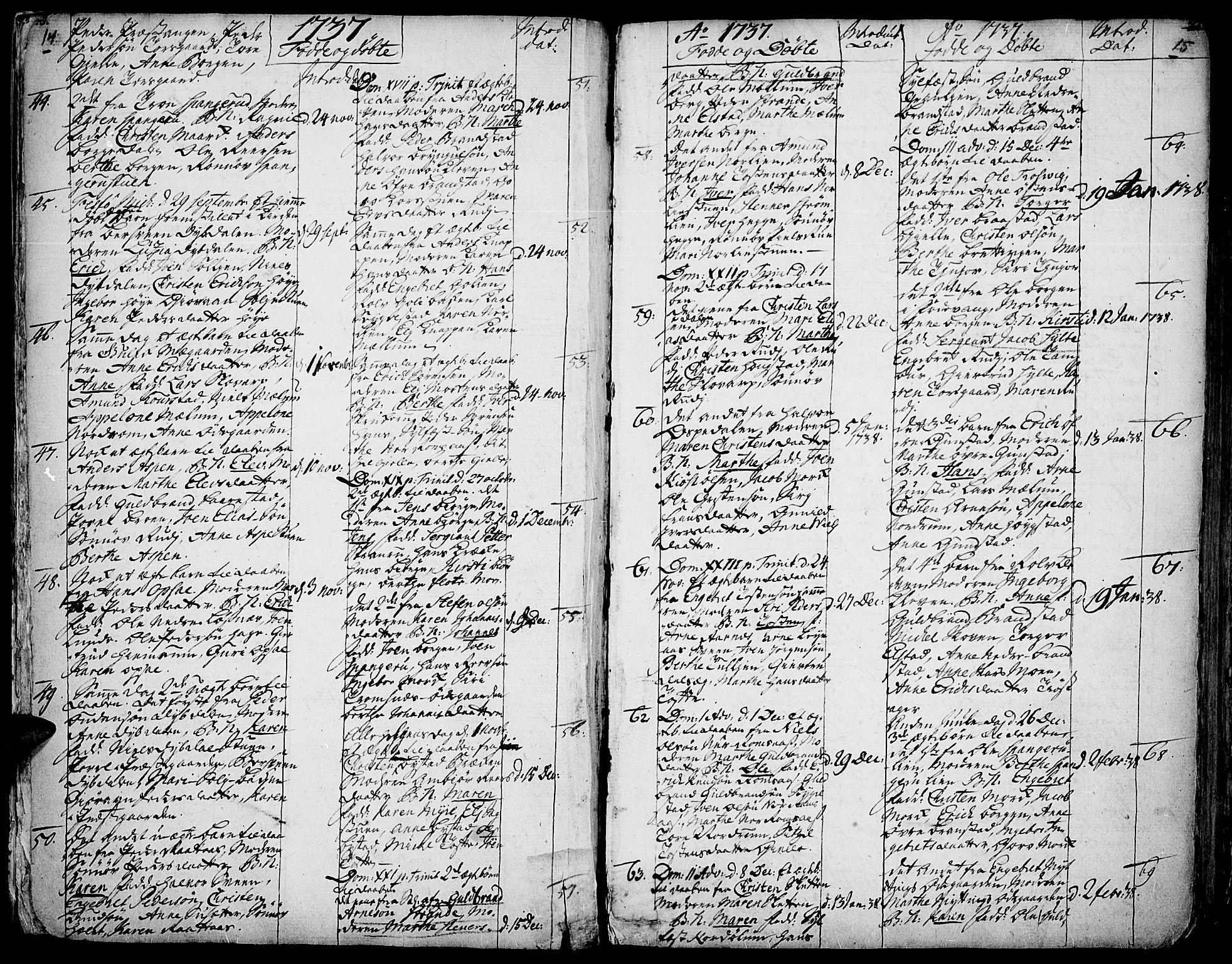 SAH, Ringebu prestekontor, Ministerialbok nr. 2, 1734-1780, s. 14-15