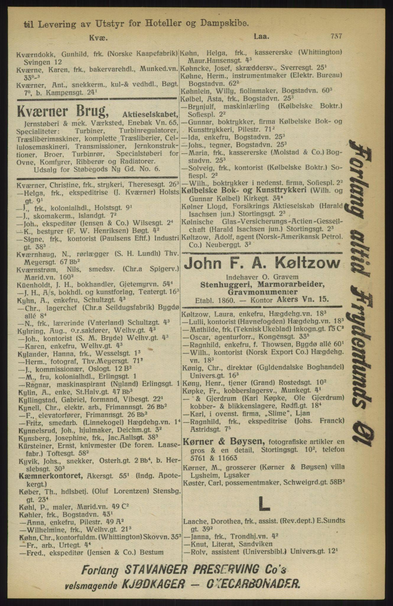 RA, Kristiania adressebok (publikasjon)*, 1914, s. 737
