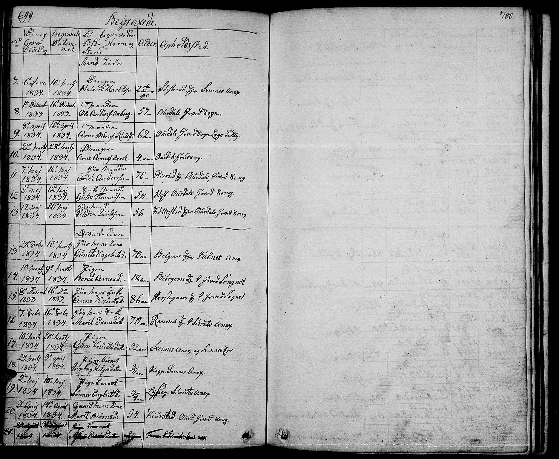 SAH, Nord-Aurdal prestekontor, Klokkerbok nr. 1, 1834-1887, s. 699-700
