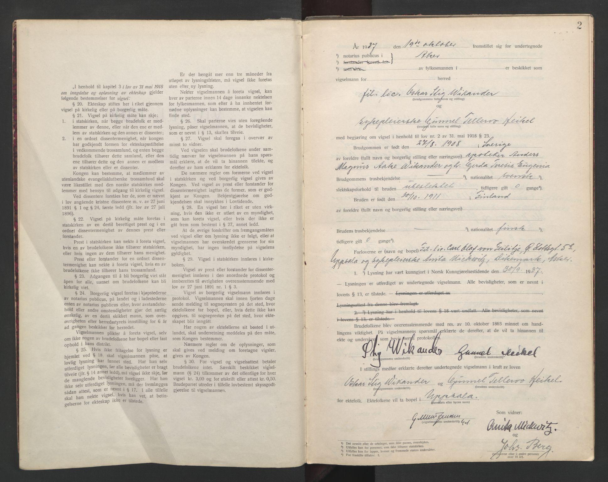 SAO, Aker sorenskriveri, L/Lc/Lcb/L0010: Vigselprotokoll, 1937-1938, s. 2
