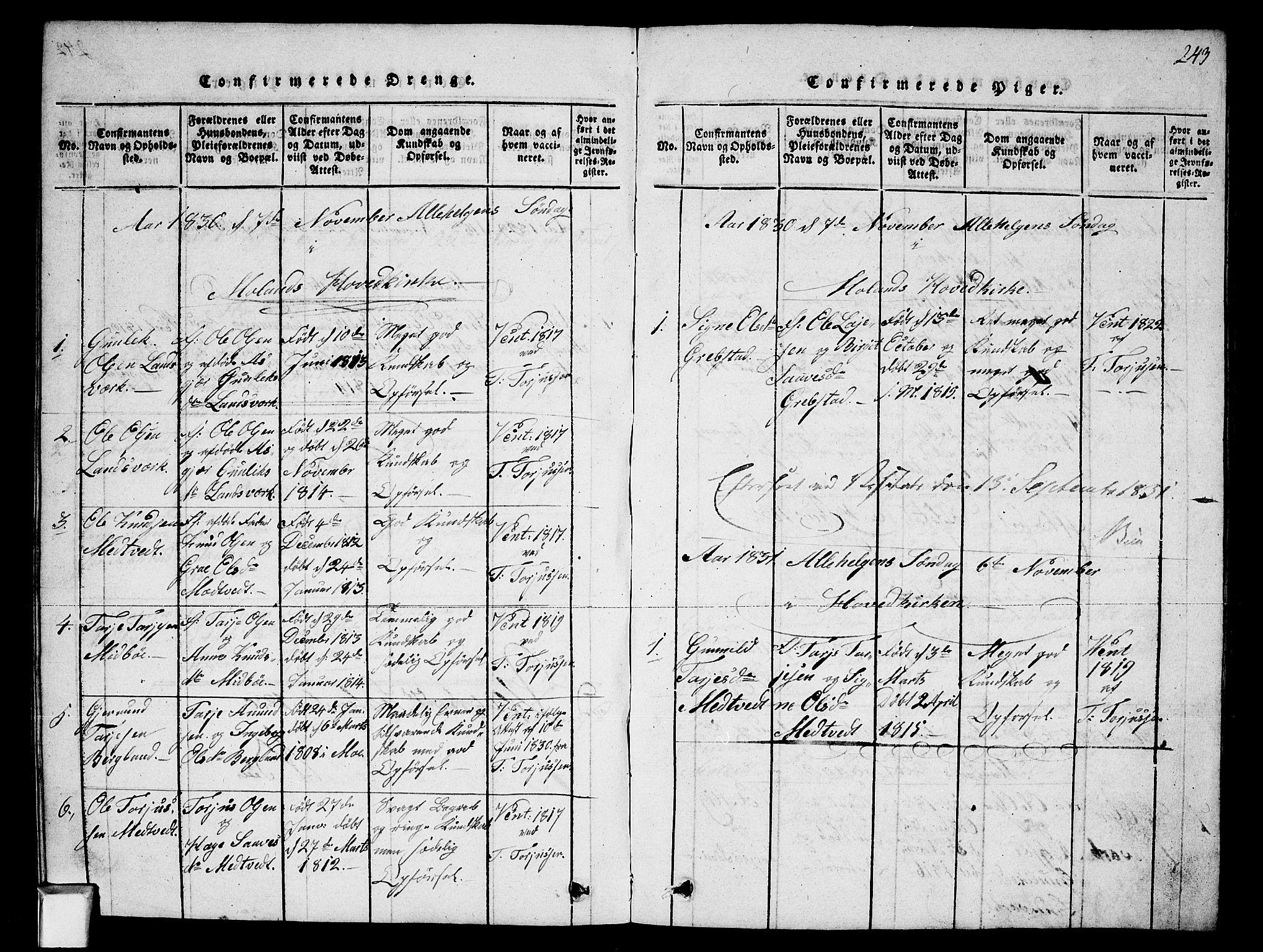 SAKO, Fyresdal kirkebøker, G/Ga/L0002: Klokkerbok nr. I 2, 1815-1857, s. 243