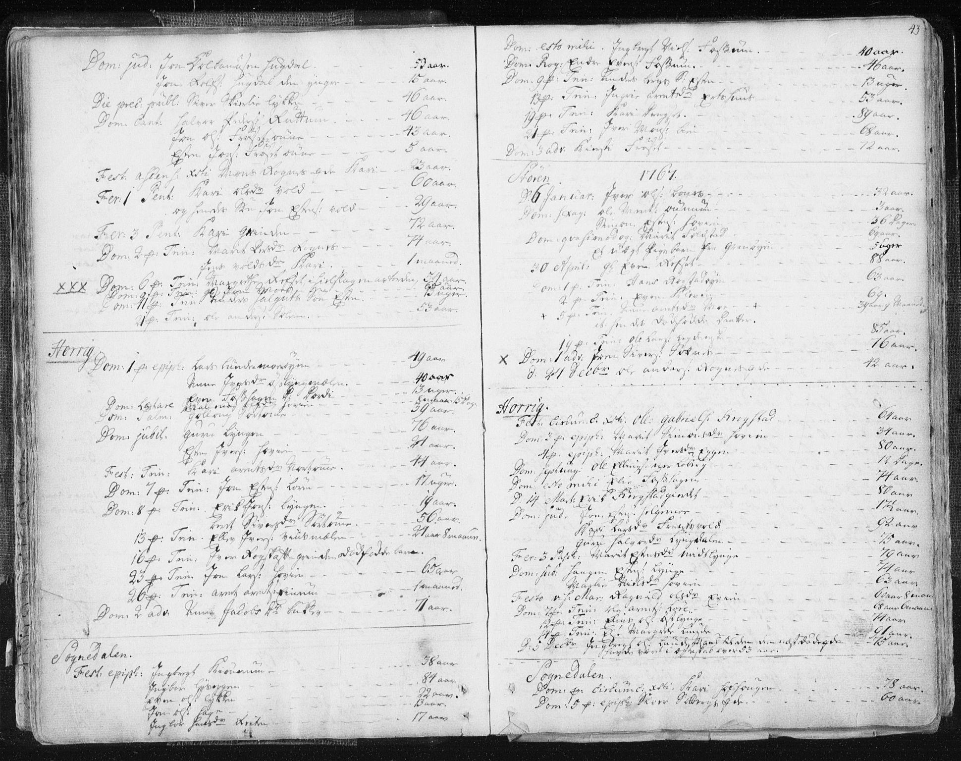 SAT, Ministerialprotokoller, klokkerbøker og fødselsregistre - Sør-Trøndelag, 687/L0991: Ministerialbok nr. 687A02, 1747-1790, s. 43